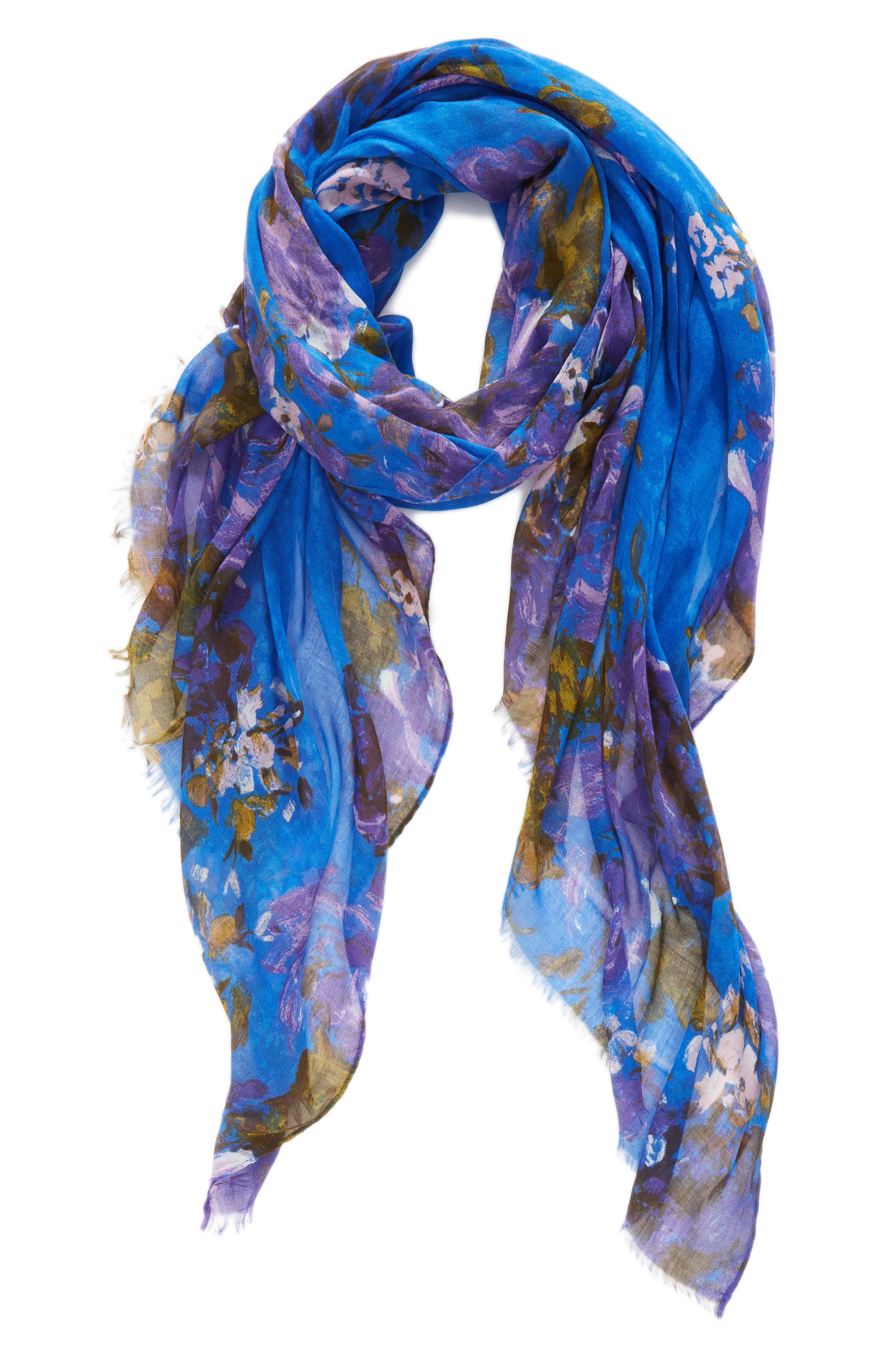 Print Modal & Silk Scarf,                             Alternate thumbnail 2, color,                             Blue Haute Blooms