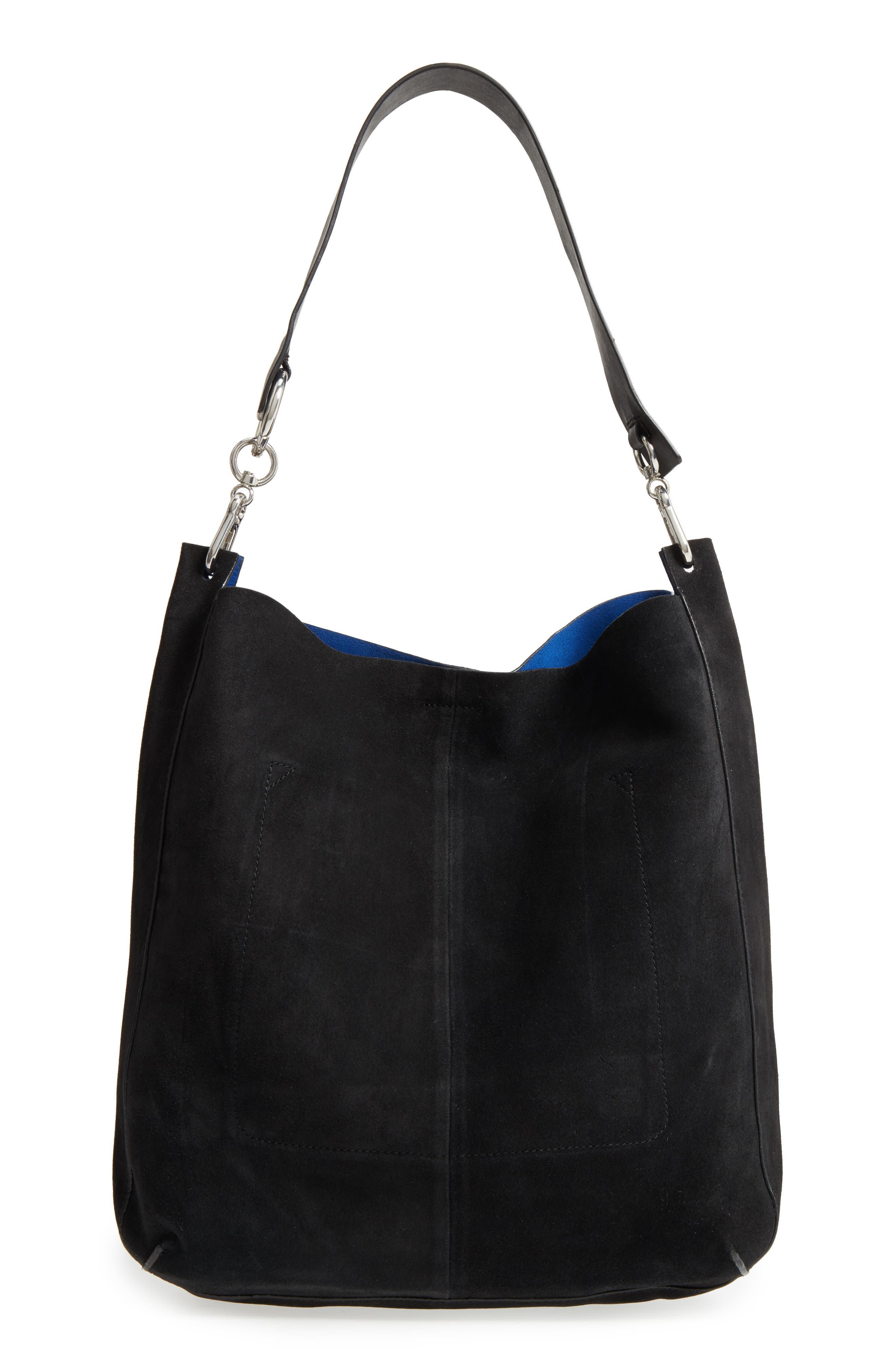 Asymmetric Suede Hobo Bag,                             Main thumbnail 1, color,                             Black