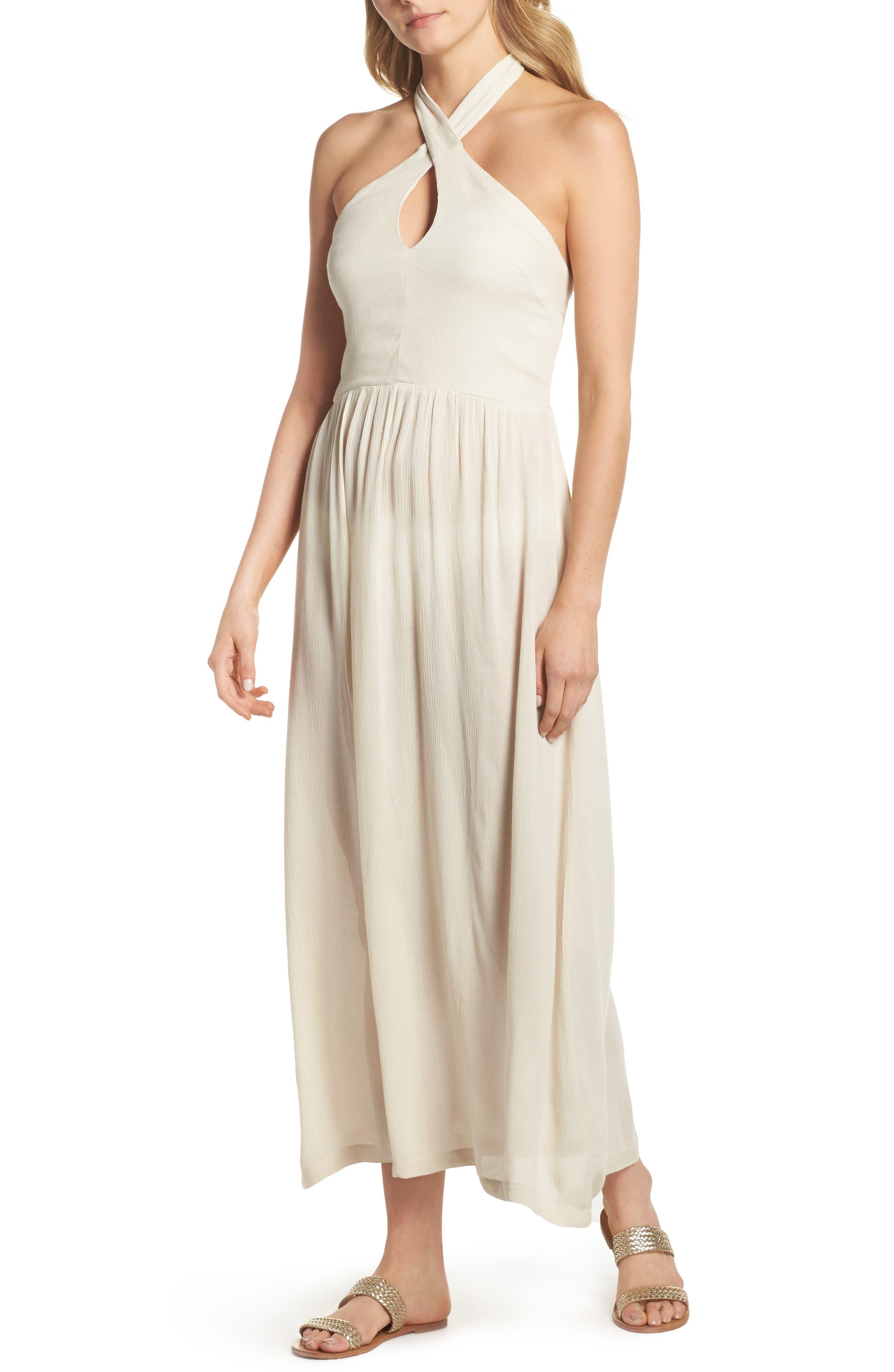 Midi Tie Back Cover-Up Dress,                         Main,                         color, Stone