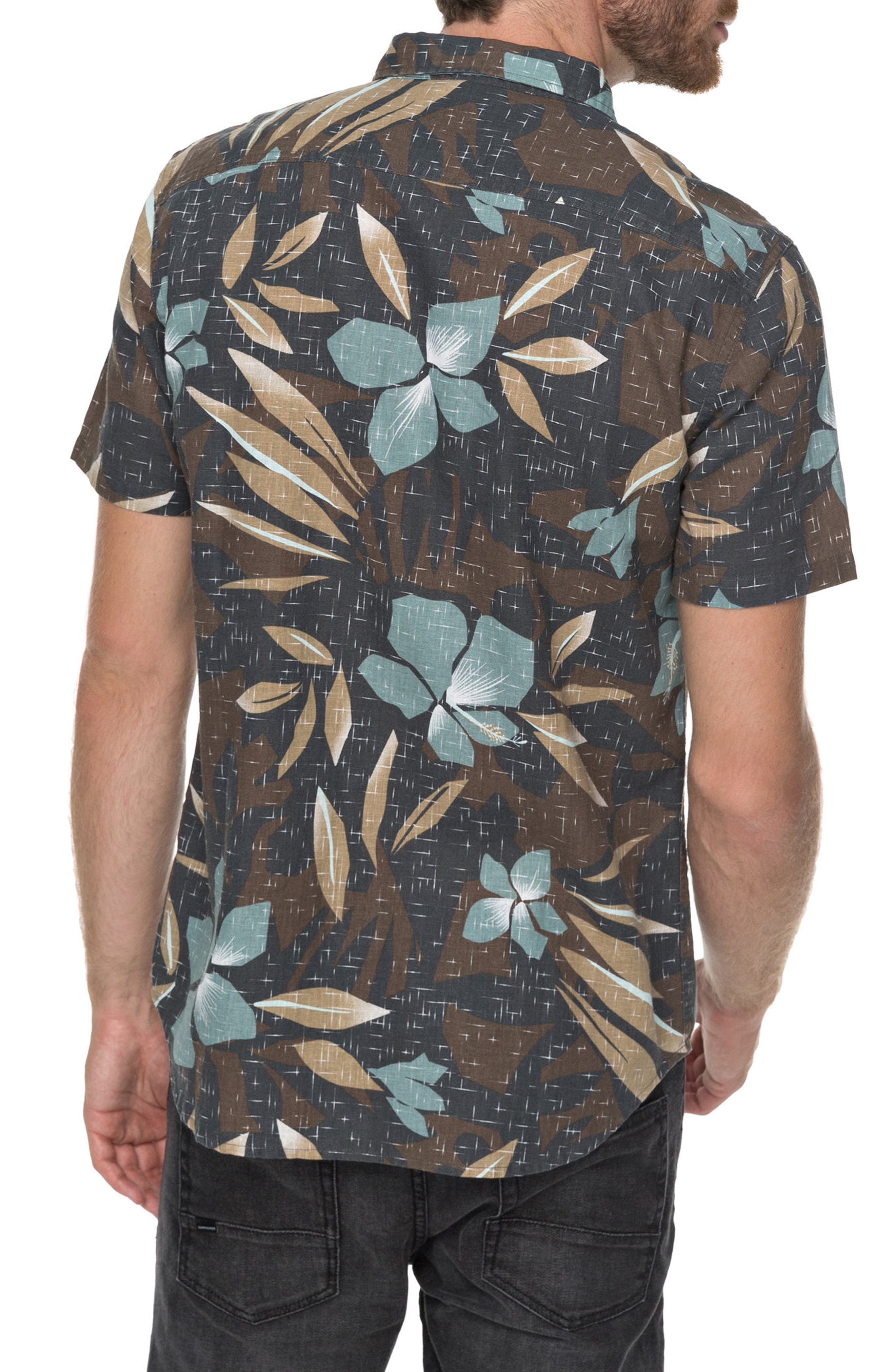 Print Linen-Blend Shirt,                             Alternate thumbnail 2, color,                             Chocolate