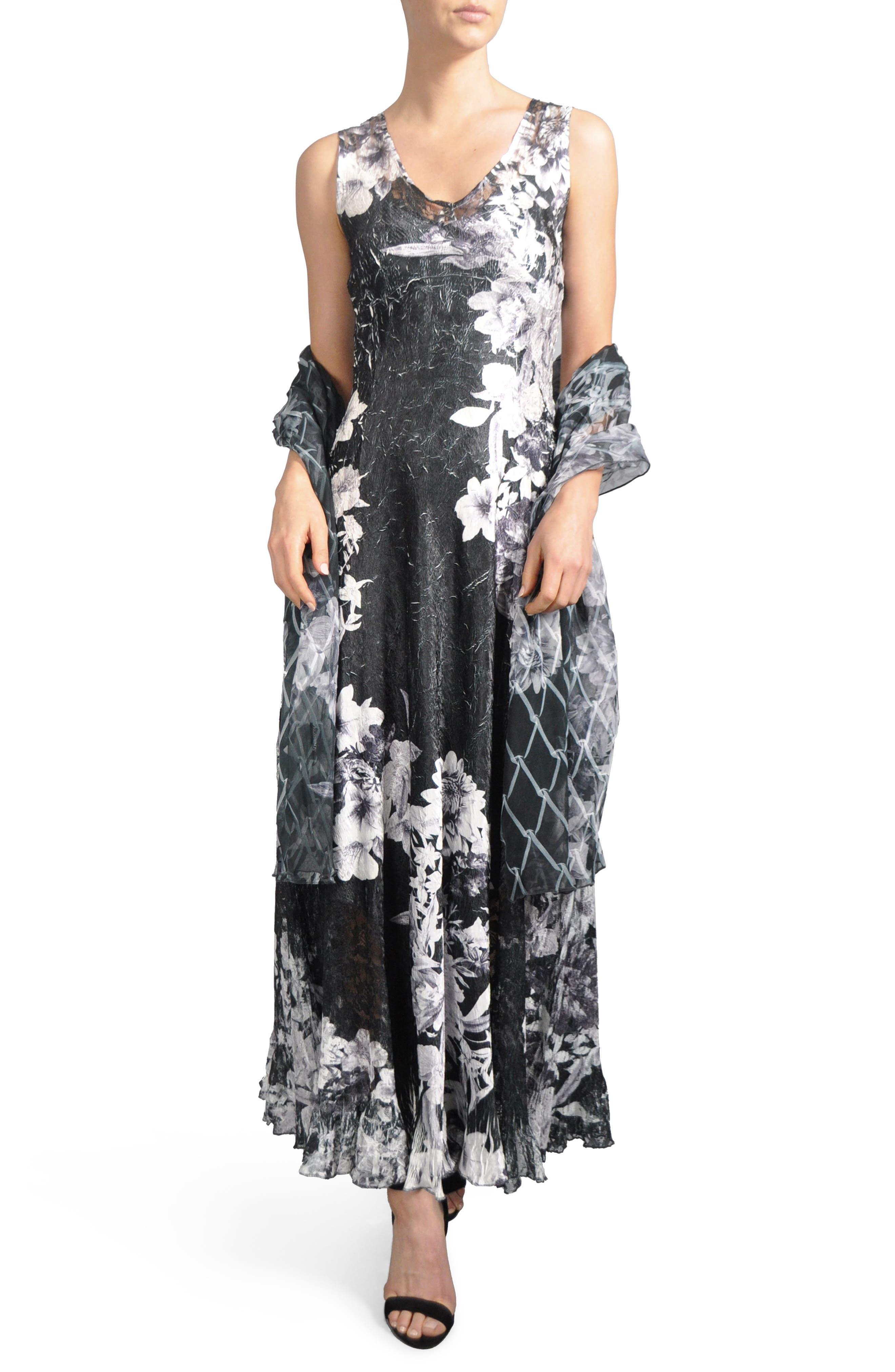 Lace-Up Back Dress with Wrap,                         Main,                         color, Onyx Vine