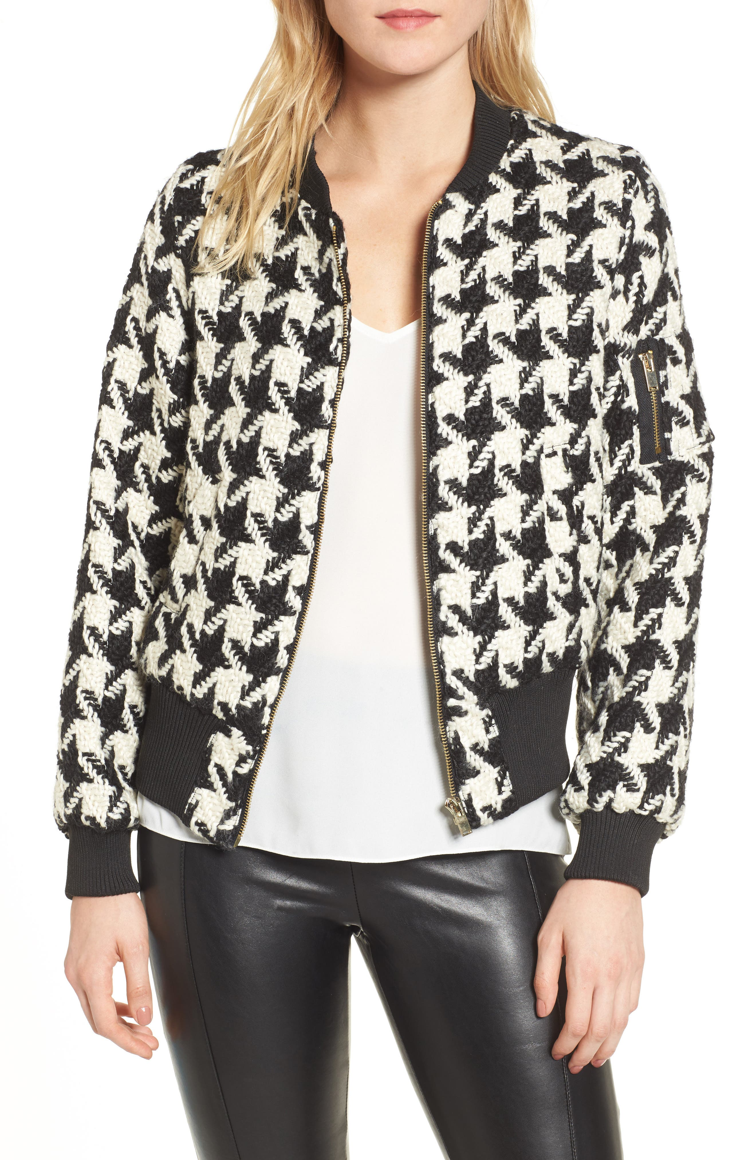Bishop + Young Houndstooth Bomber Jacket,                         Main,                         color, Assorted