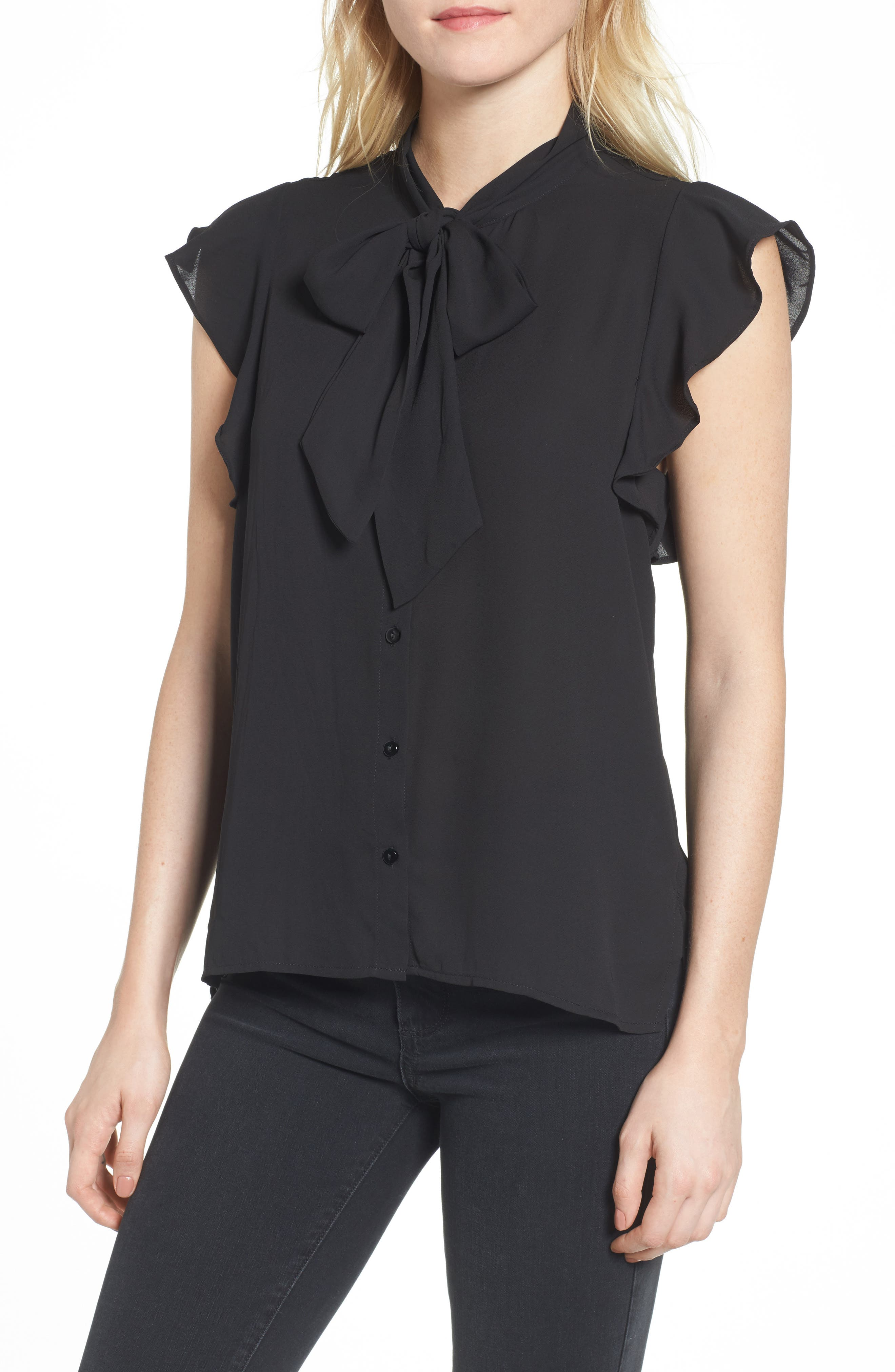 Bishop + Young Ruffle Blouse,                         Main,                         color, Black