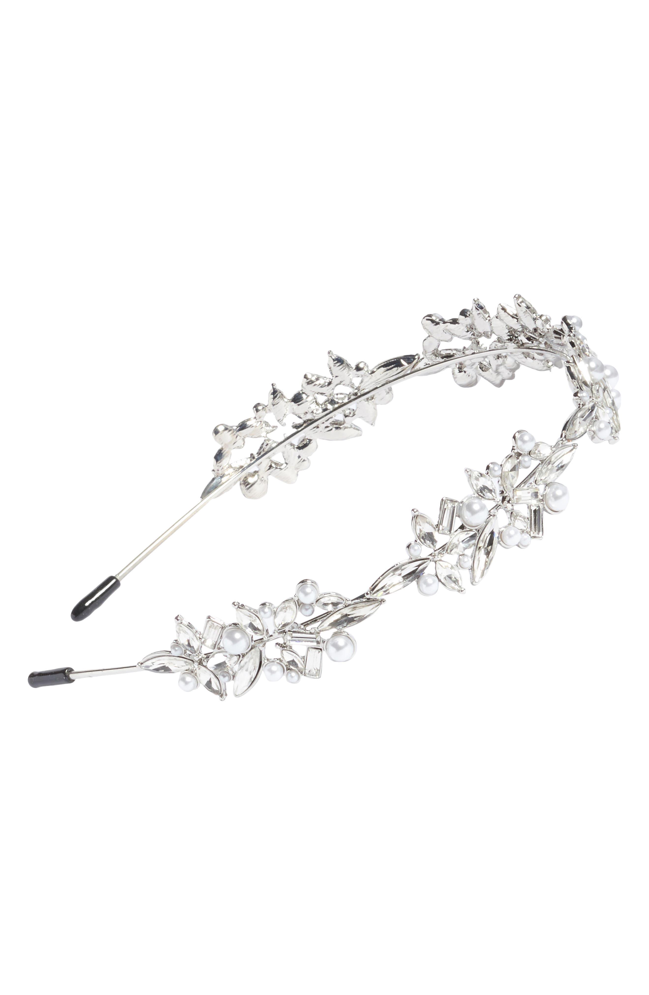 Imitation Pearl Floral Headband,                         Main,                         color, Silver