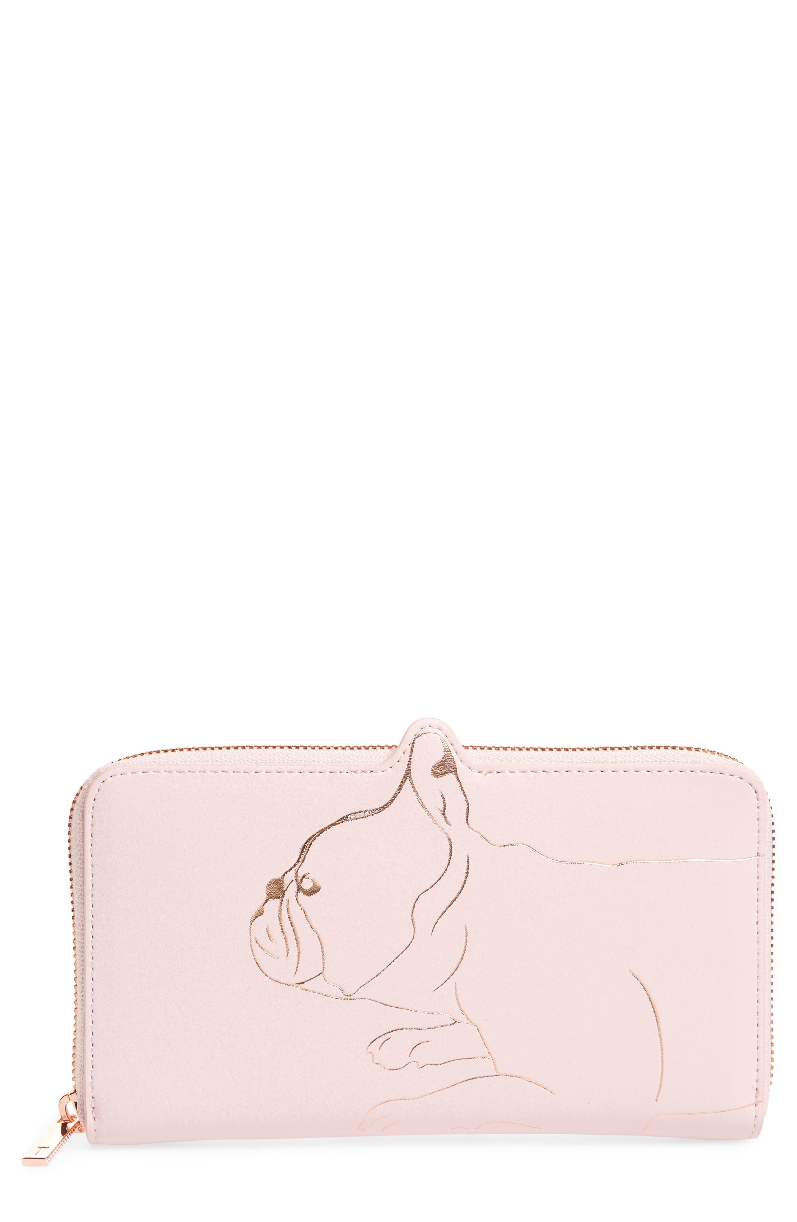 Carryn Matinée Leather Wallet,                         Main,                         color, Light Pink