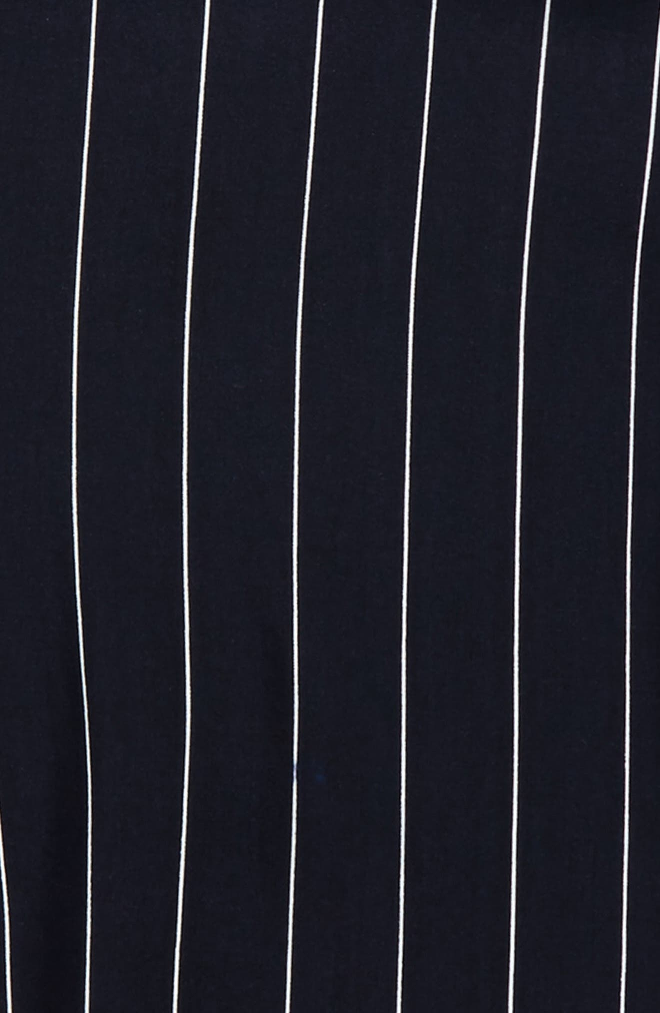 Pinstripe Cold Shoulder Top,                             Alternate thumbnail 2, color,                             Navy-White