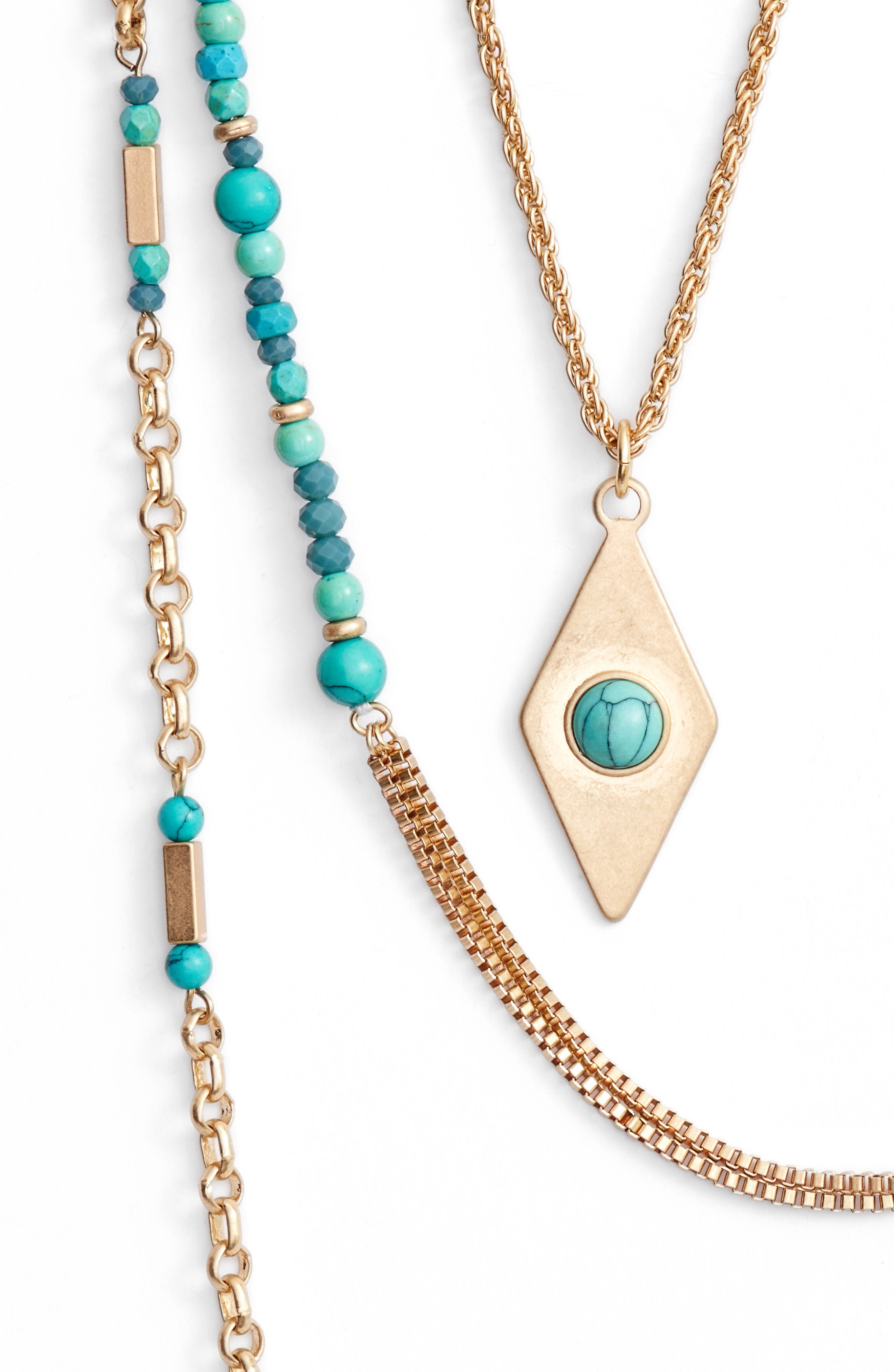 Multistrand Necklace,                             Alternate thumbnail 2, color,                             Turquoise- Gold