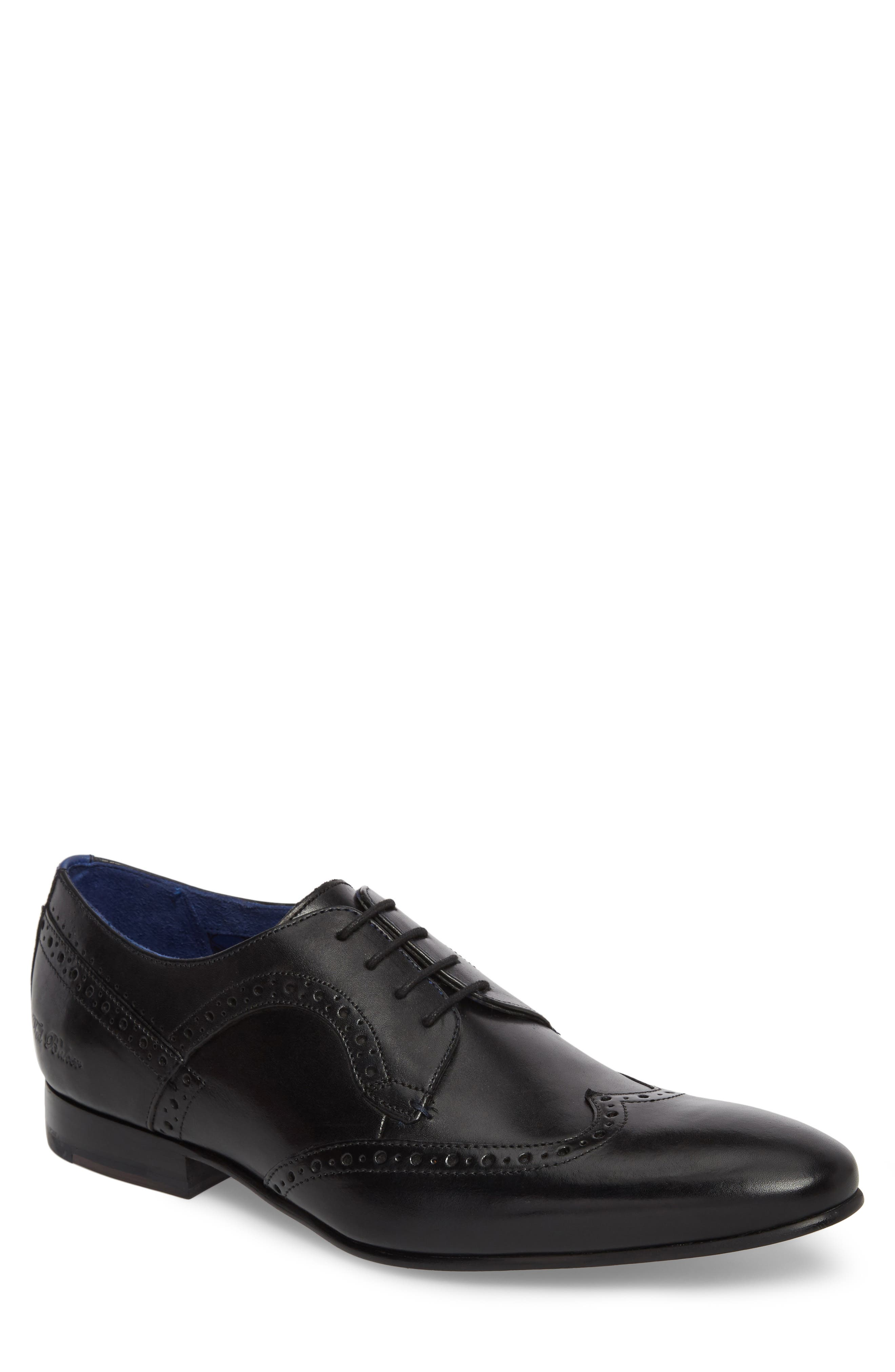 Ollivur Wingtip,                             Main thumbnail 1, color,                             Black Leather