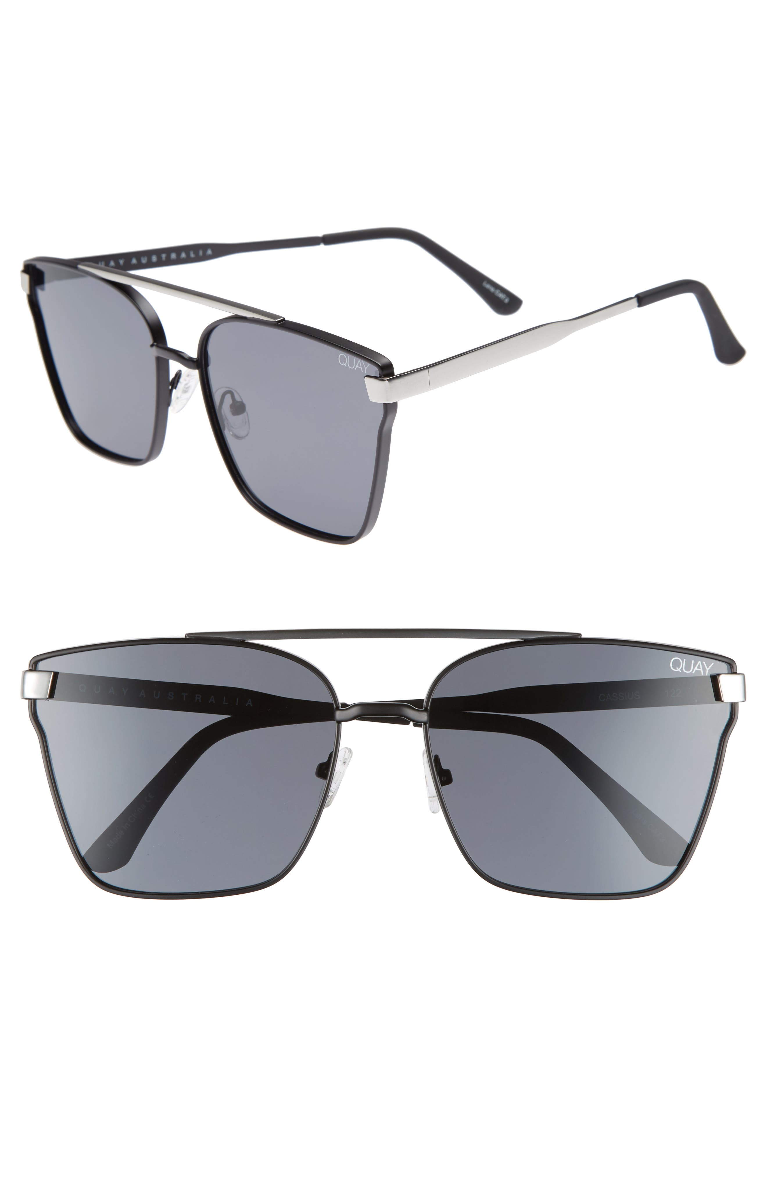 Cassius 59mm Navigator Sunglasses,                         Main,                         color, Black/Smoke