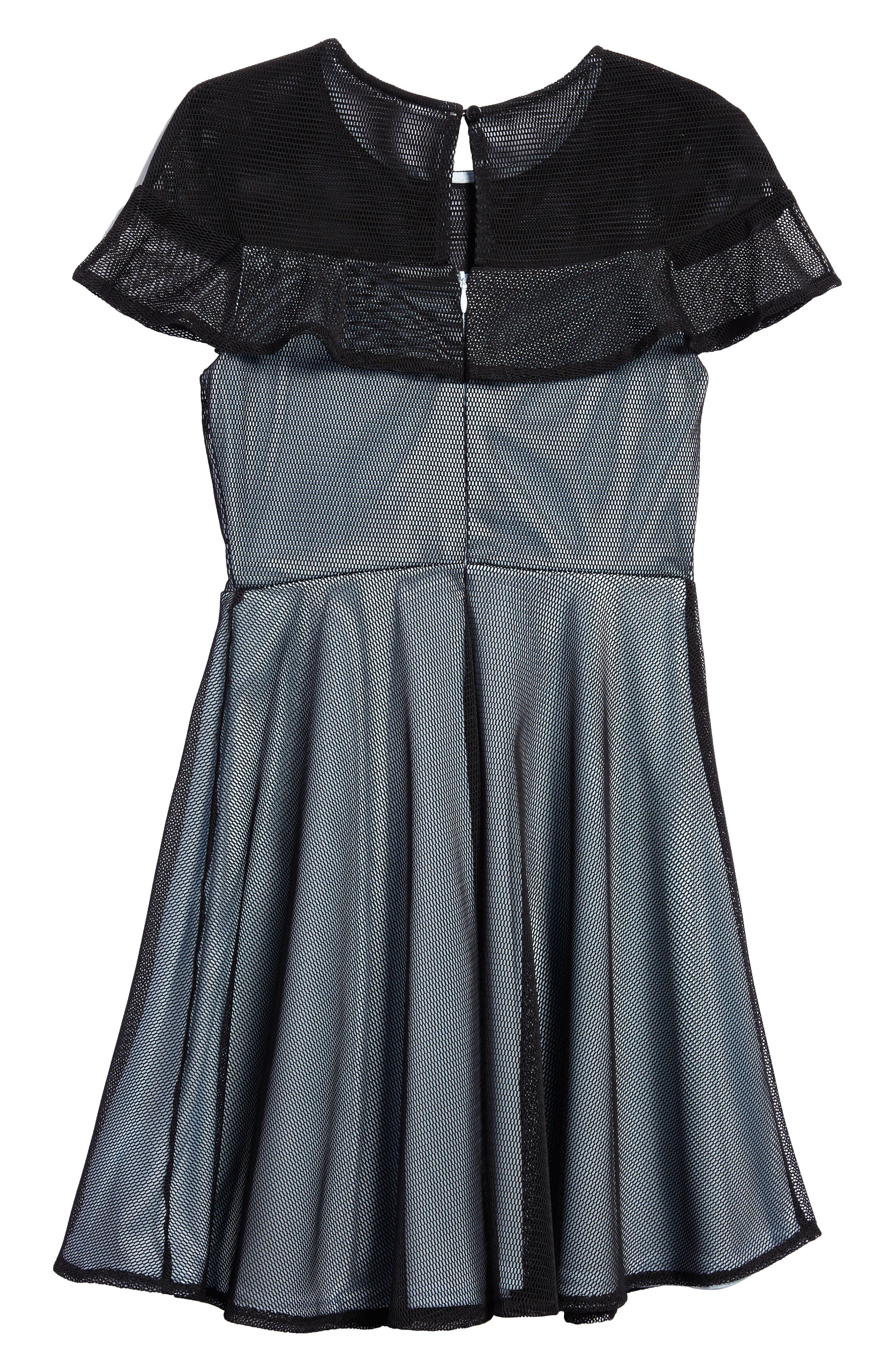 Ruffle Mesh Overlay Dress,                             Alternate thumbnail 2, color,                             Black