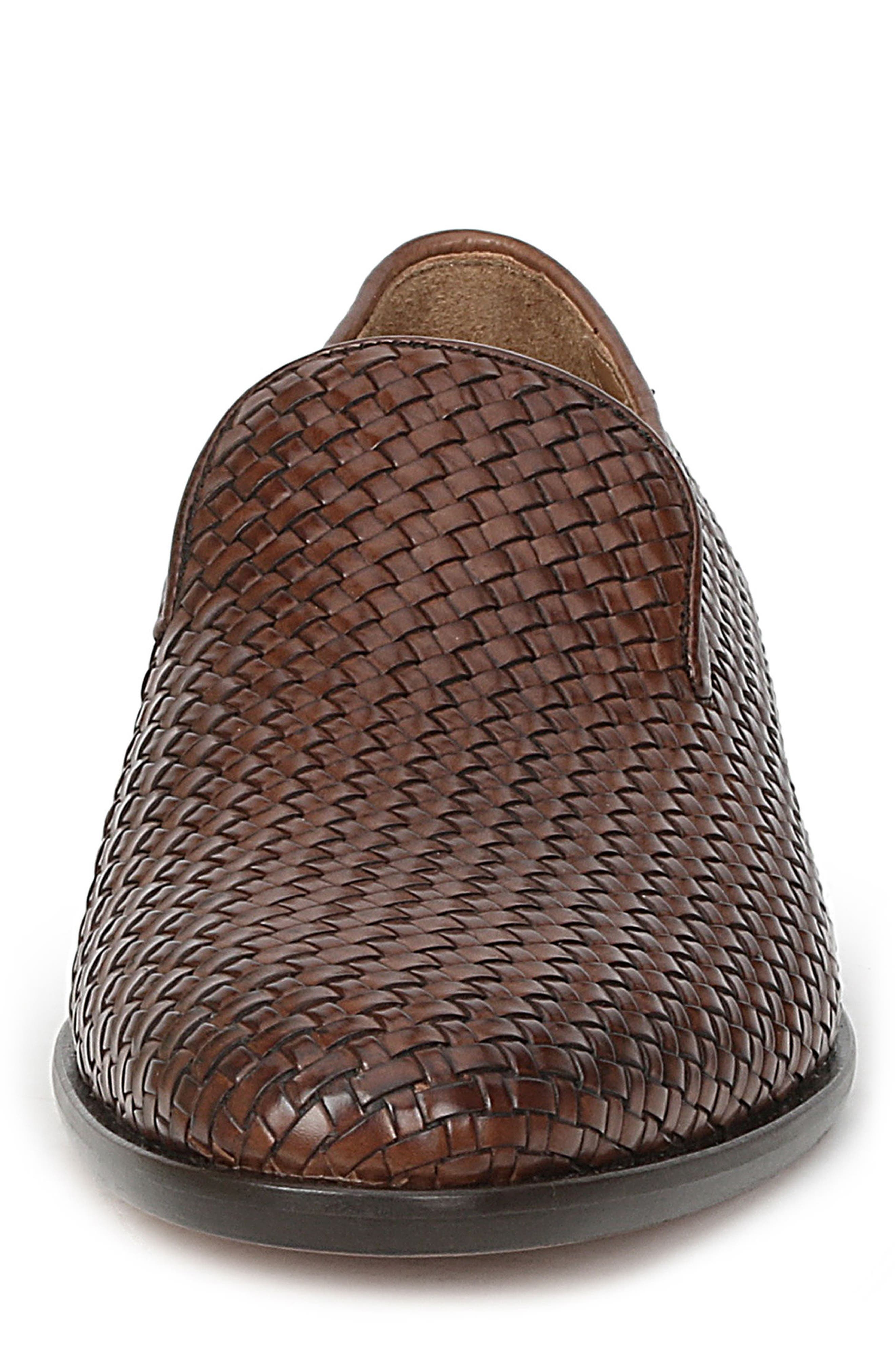 Picasso Woven Venetian Loafer,                             Alternate thumbnail 4, color,                             Cognac