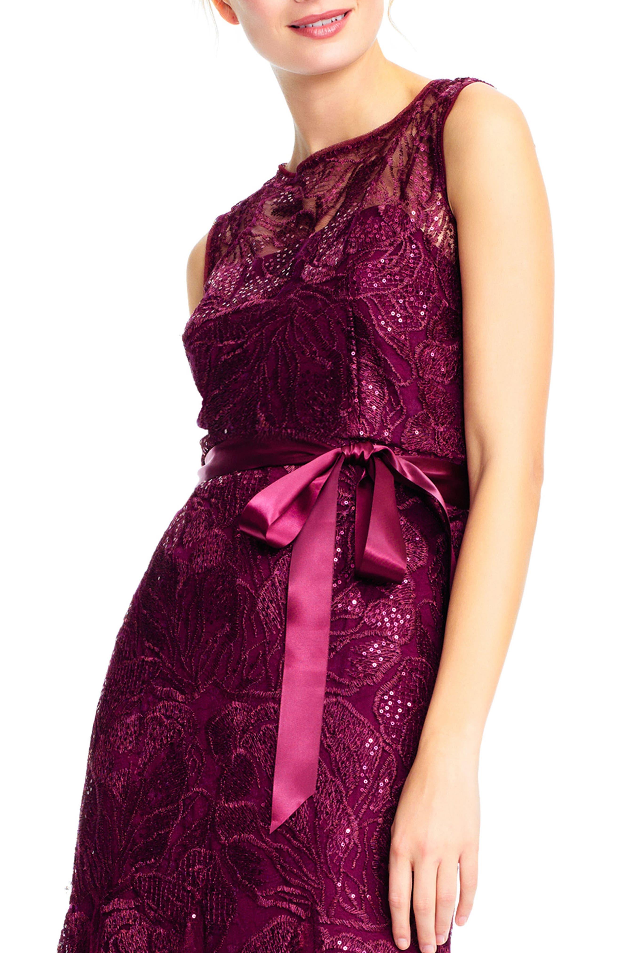 Tie Waist Sequin Lace Gown,                             Alternate thumbnail 4, color,                             Cabernet