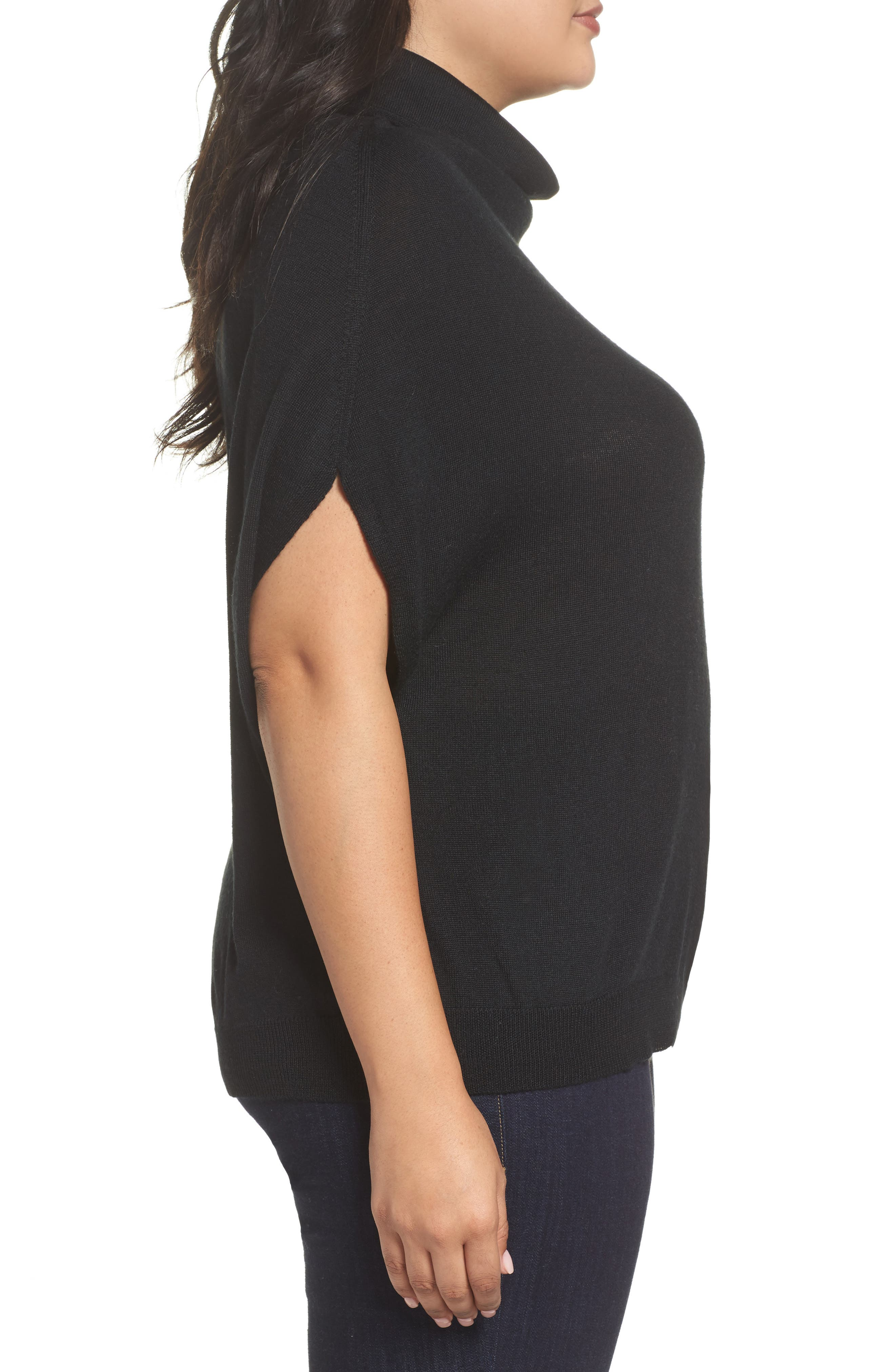 Merino Wool Blend Turtleneck Sweater,                             Alternate thumbnail 3, color,                             Black
