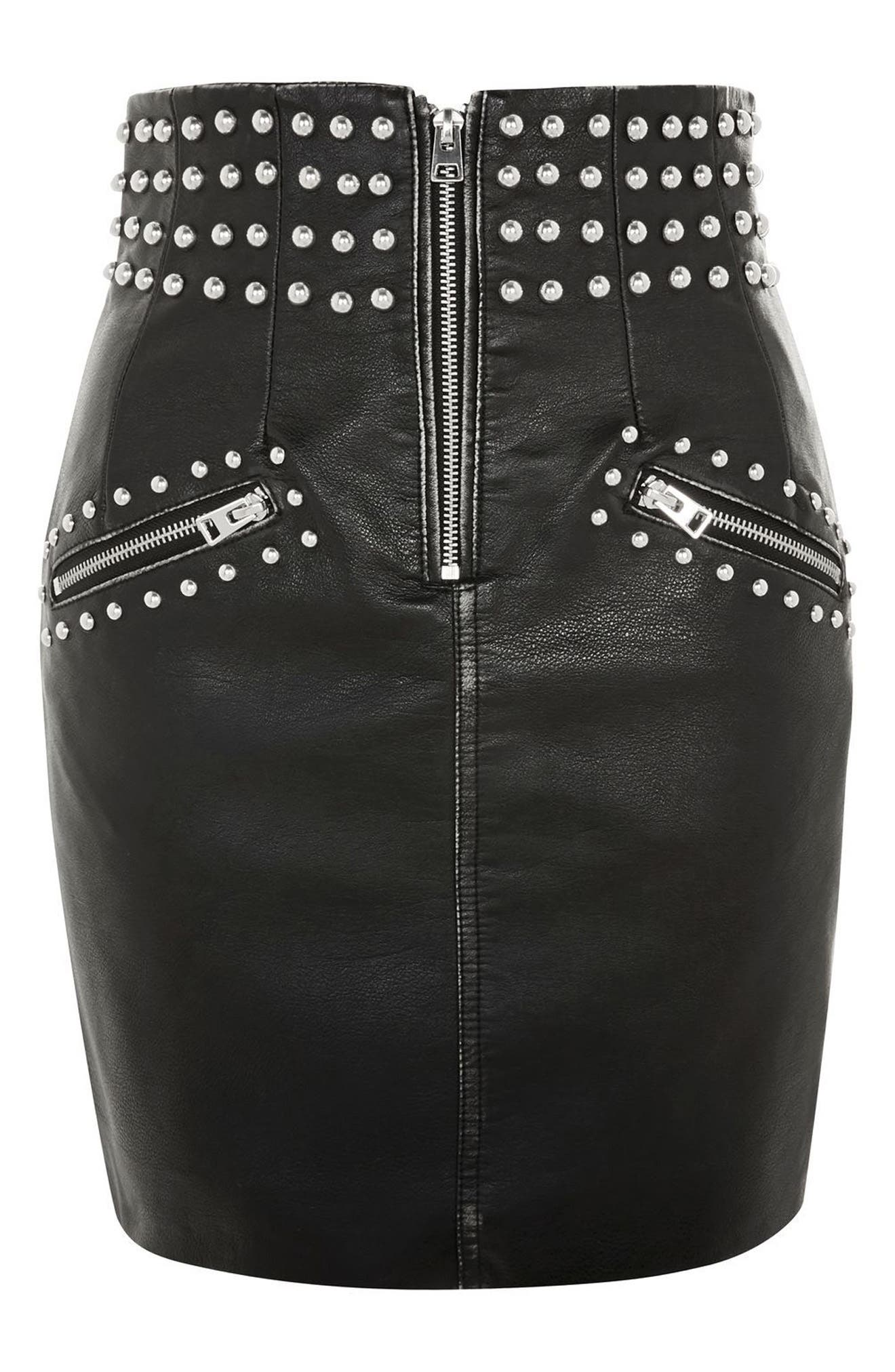 Amy Studded Faux Leather High Waist Skirt,                             Alternate thumbnail 3, color,                             Black Multi