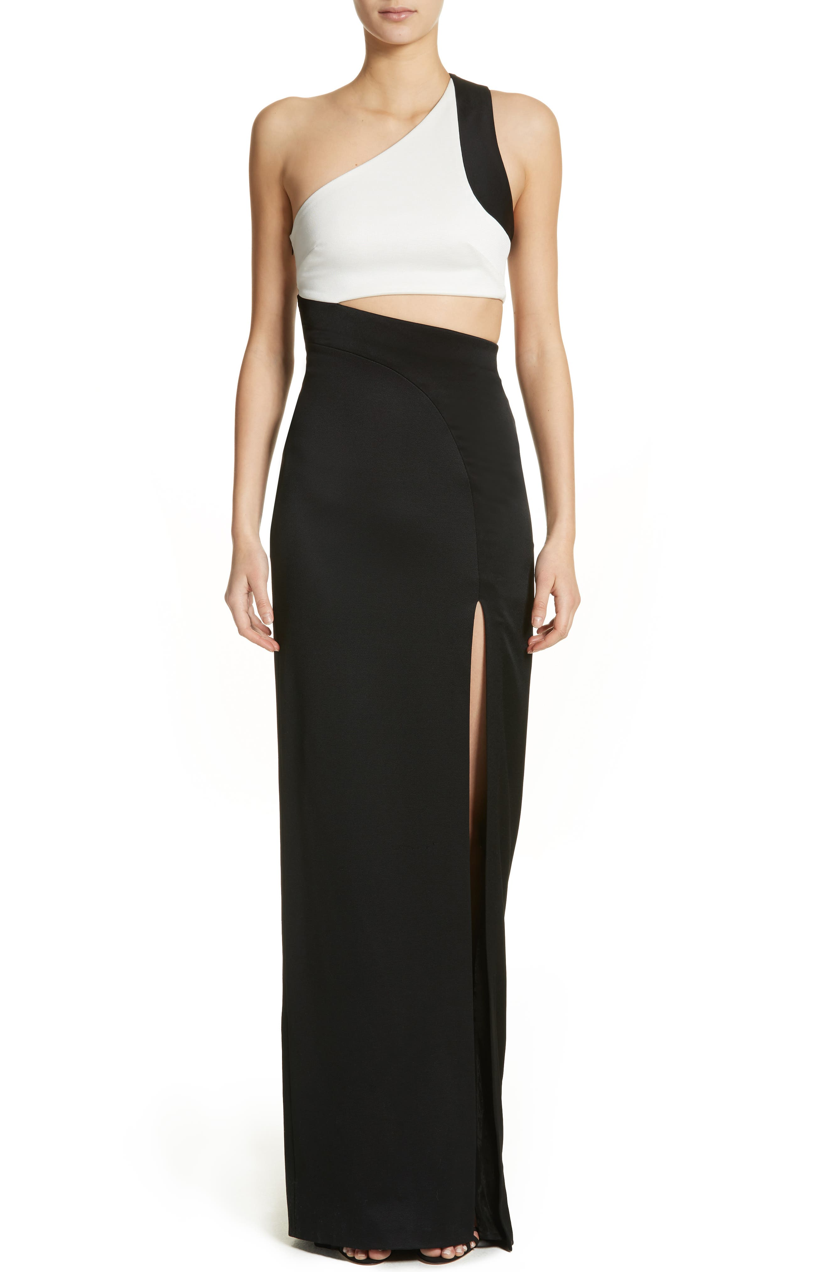 One-Shoulder Colorblock Gown,                         Main,                         color, Black White