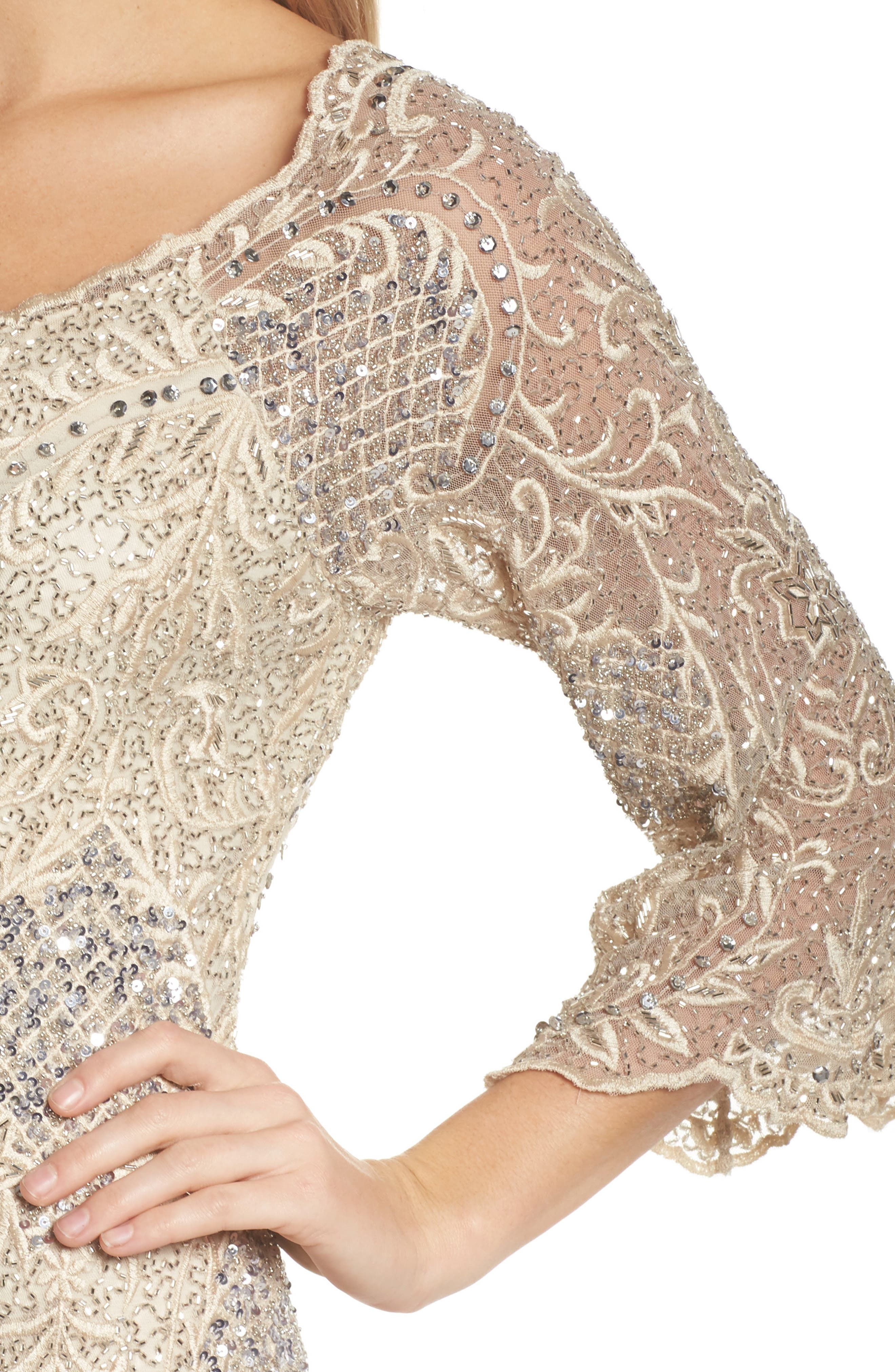 Embroidered Scallop Edge Midi Sheath Dress,                             Alternate thumbnail 4, color,                             Champagne