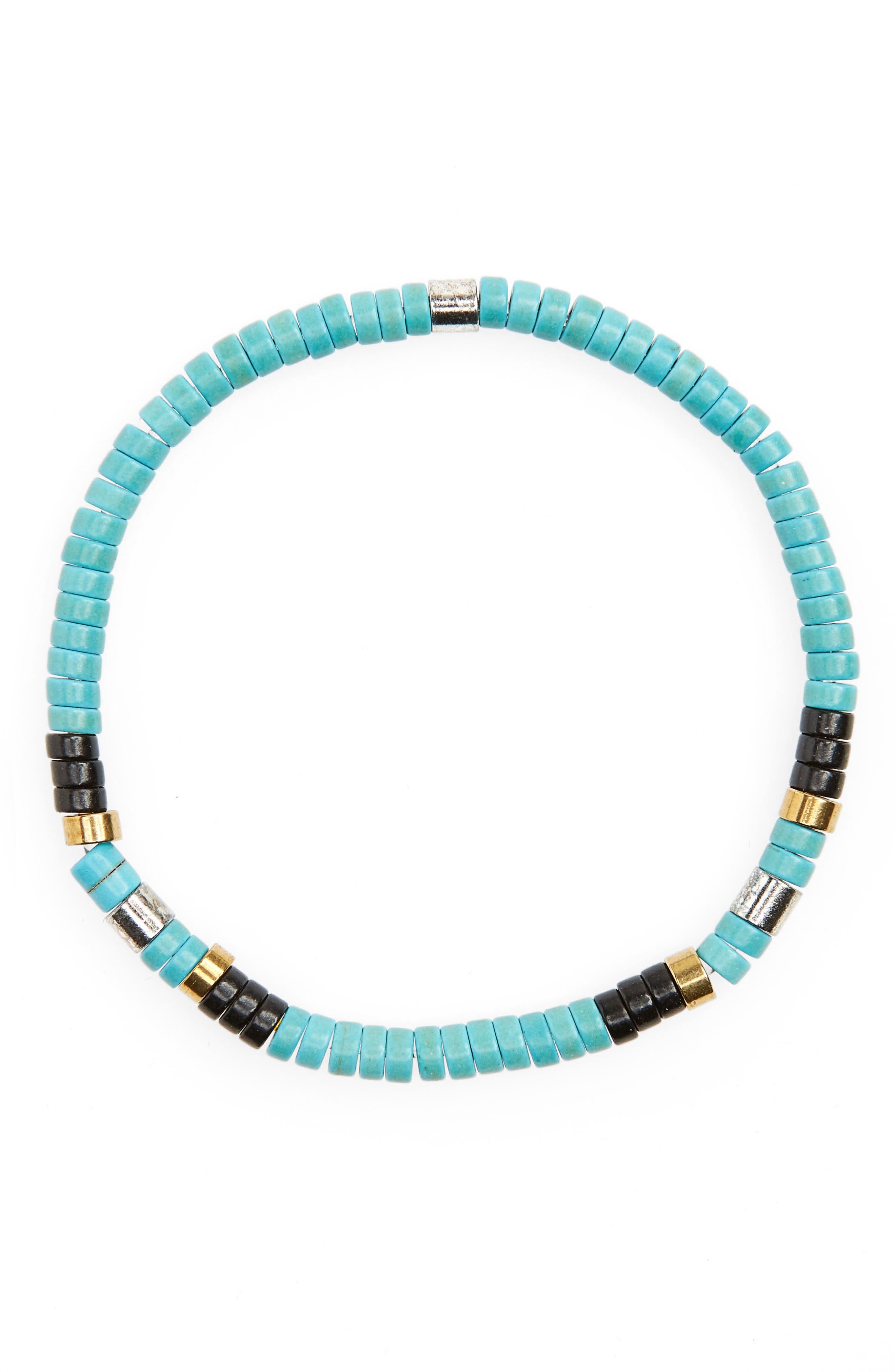 Shell Bead Bracelet,                         Main,                         color, Turquoise
