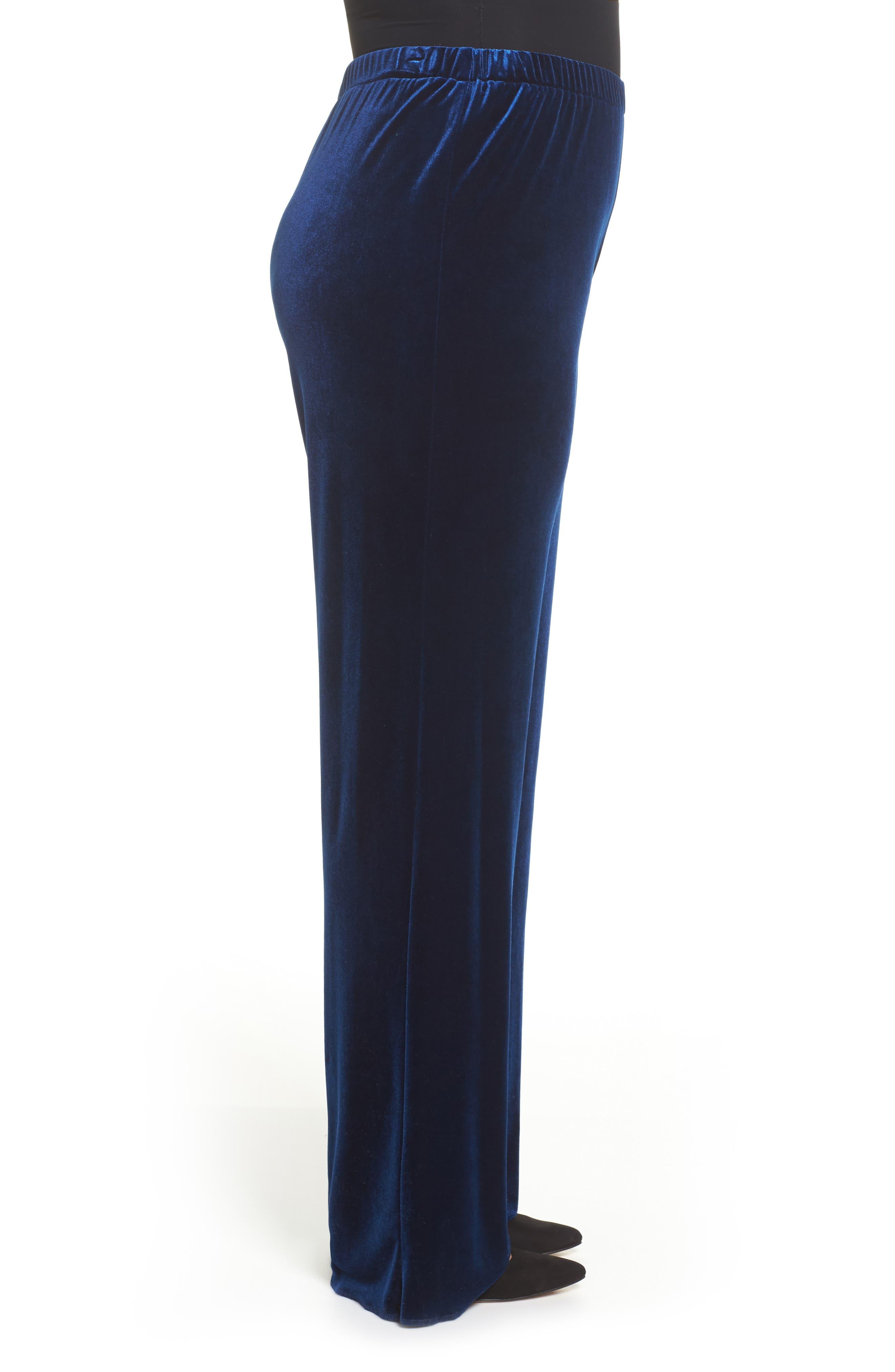 Rosita Velour Pants,                             Alternate thumbnail 3, color,                             Dark Navy