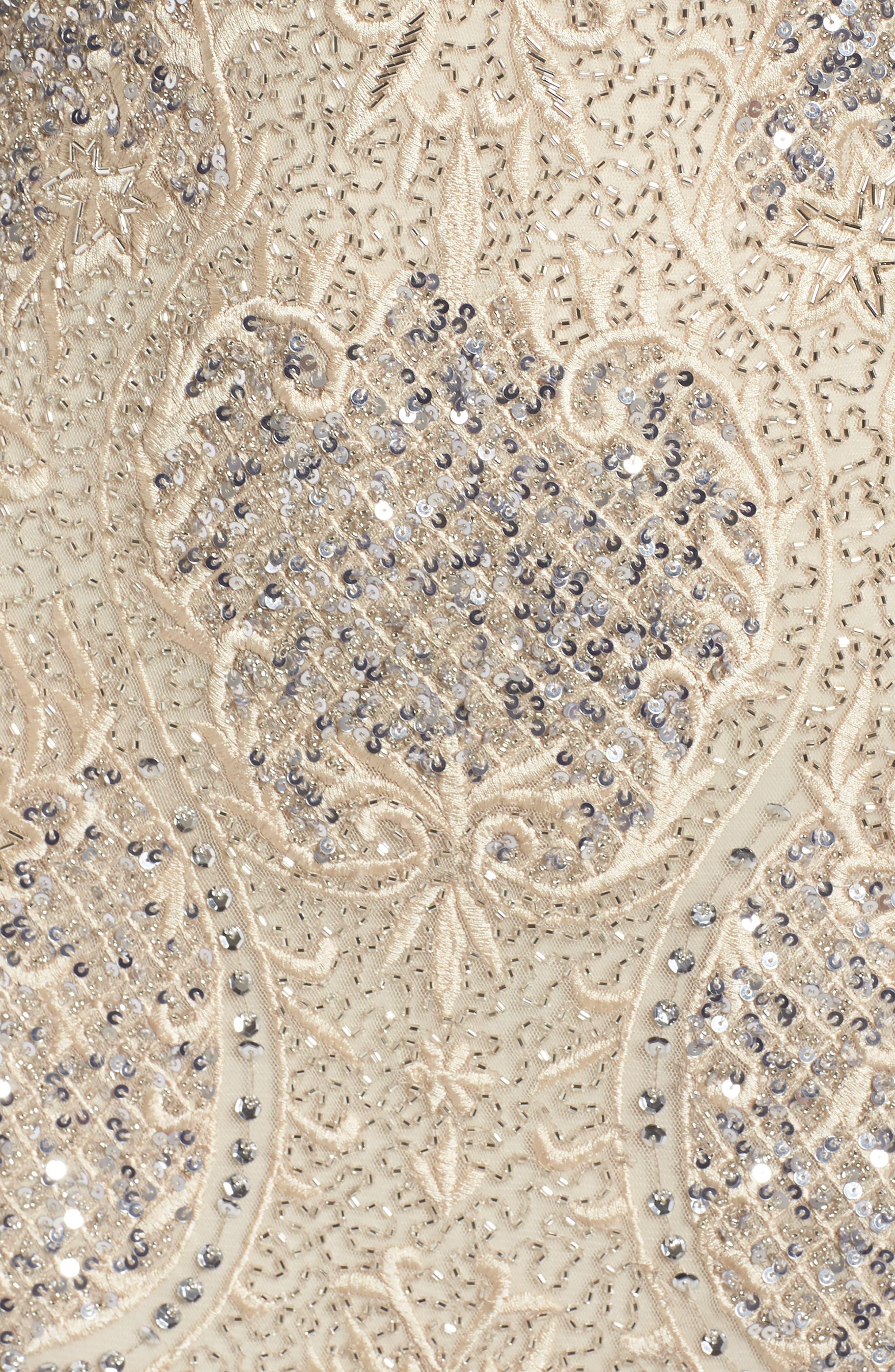 Embroidered Scallop Edge Midi Sheath Dress,                             Alternate thumbnail 5, color,                             Champagne