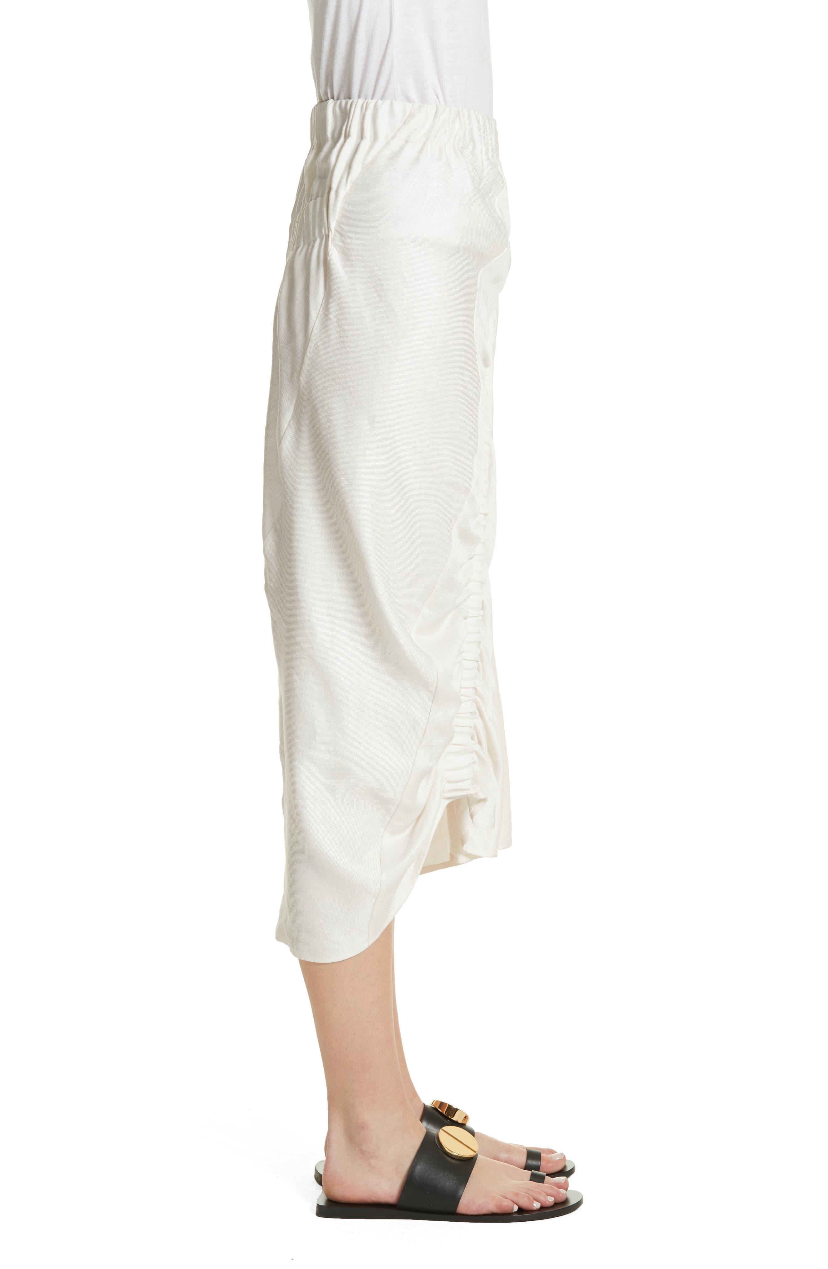Ruched Drape Skirt,                             Alternate thumbnail 3, color,                             White Pepper