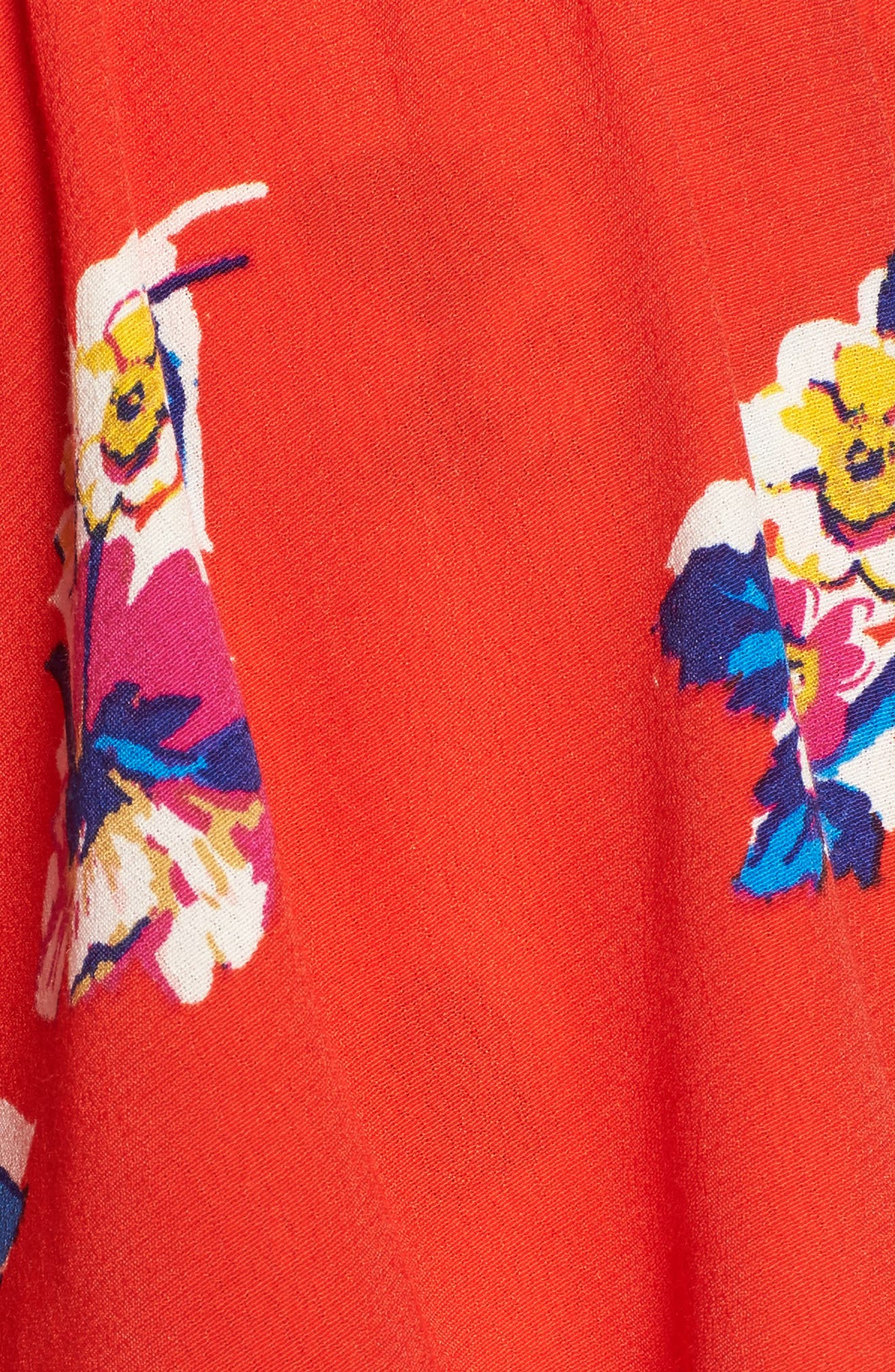 Print Ruffle Off the Shoulder Top,                             Alternate thumbnail 6, color,                             Red Fiery Bold Bloom