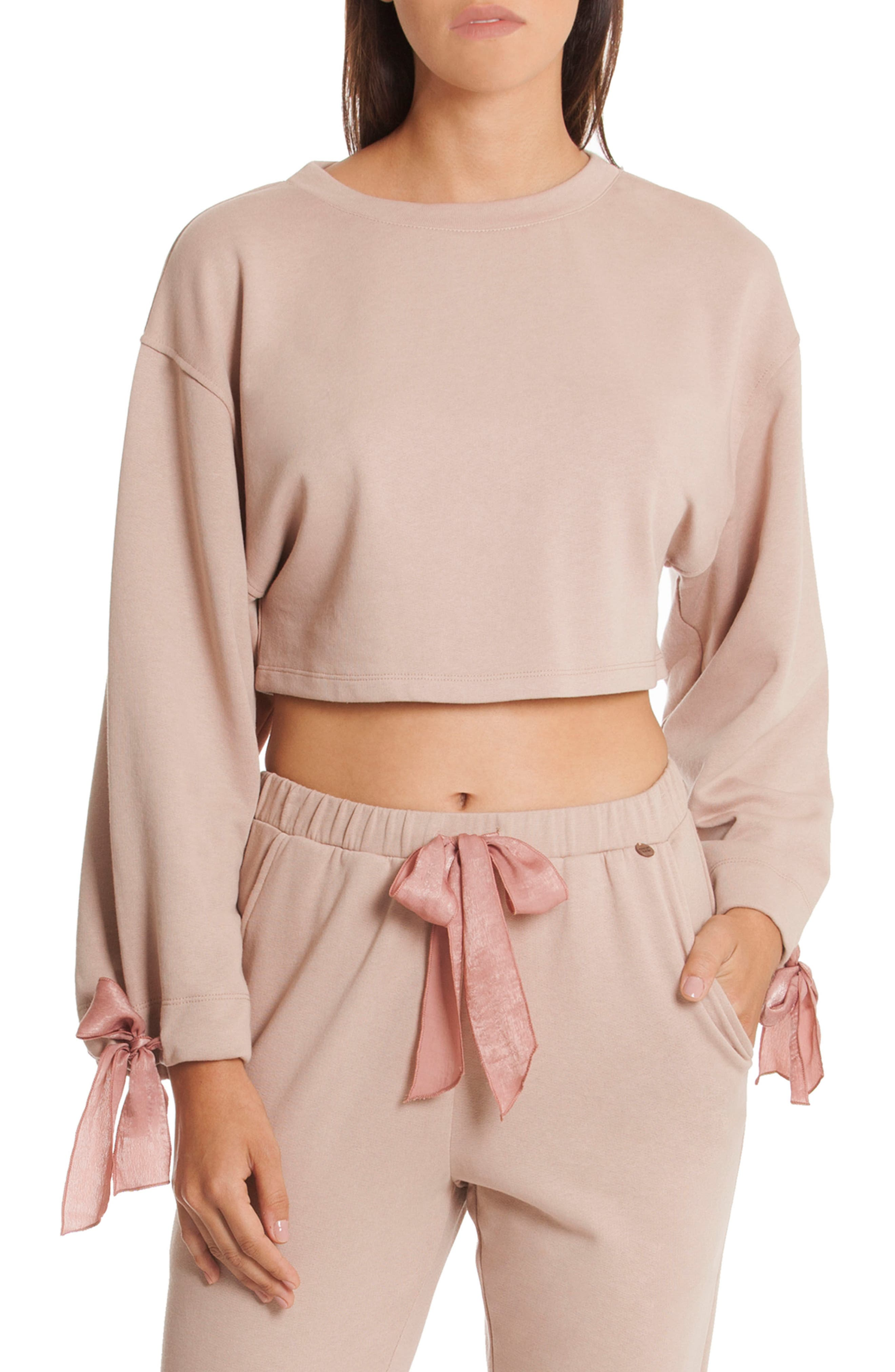 Crop Sweatshirt,                             Main thumbnail 1, color,                             Taupe