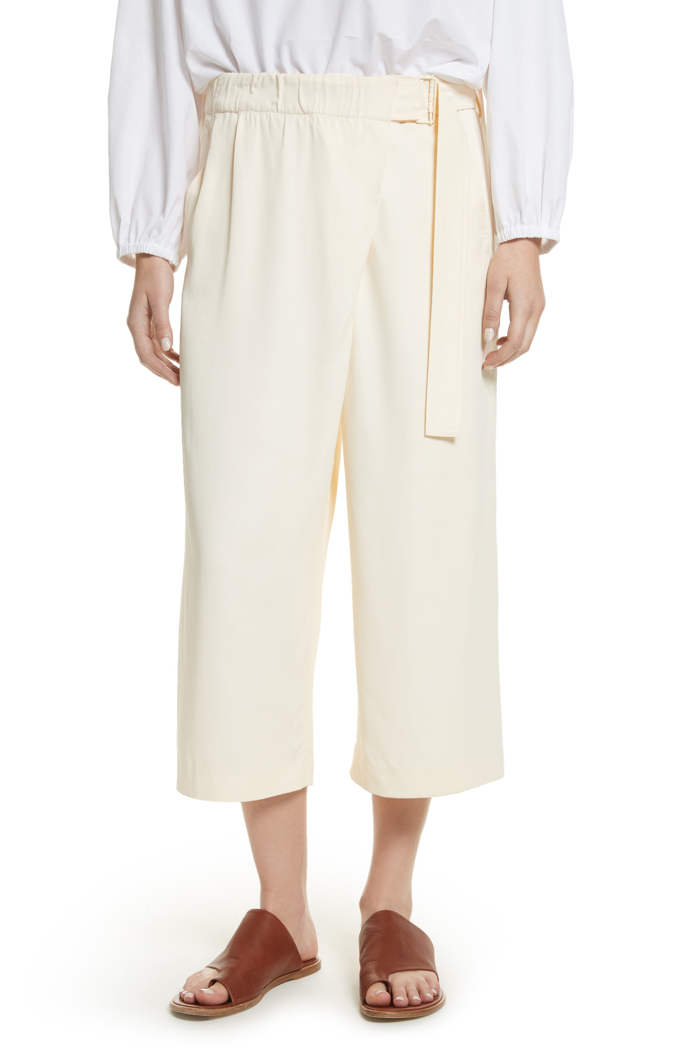 Belted Crossover Culottes,                         Main,                         color, Buttercream