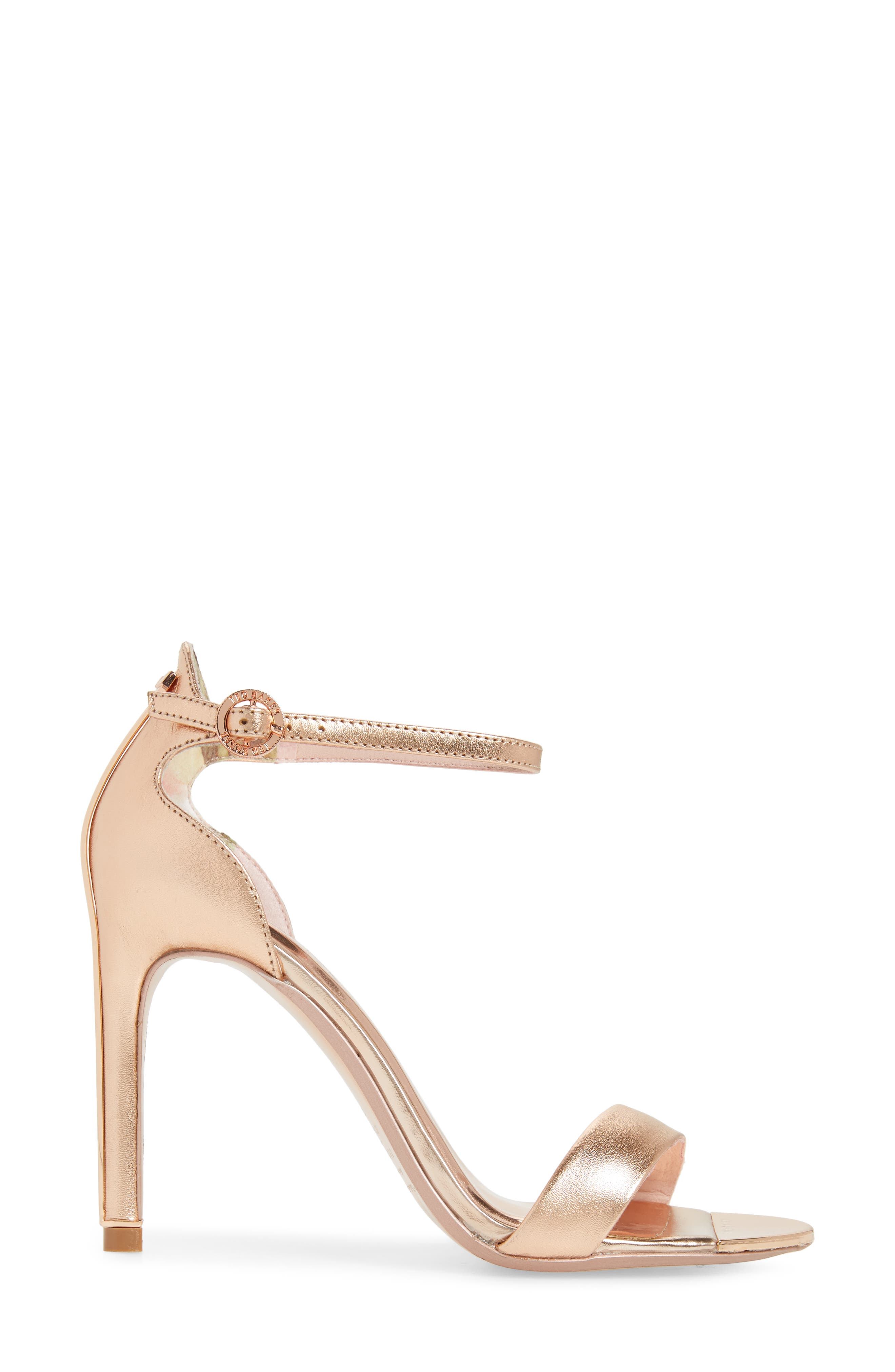 Sharlot Ankle Strap Sandal,                             Alternate thumbnail 3, color,                             Rose Gold Leather