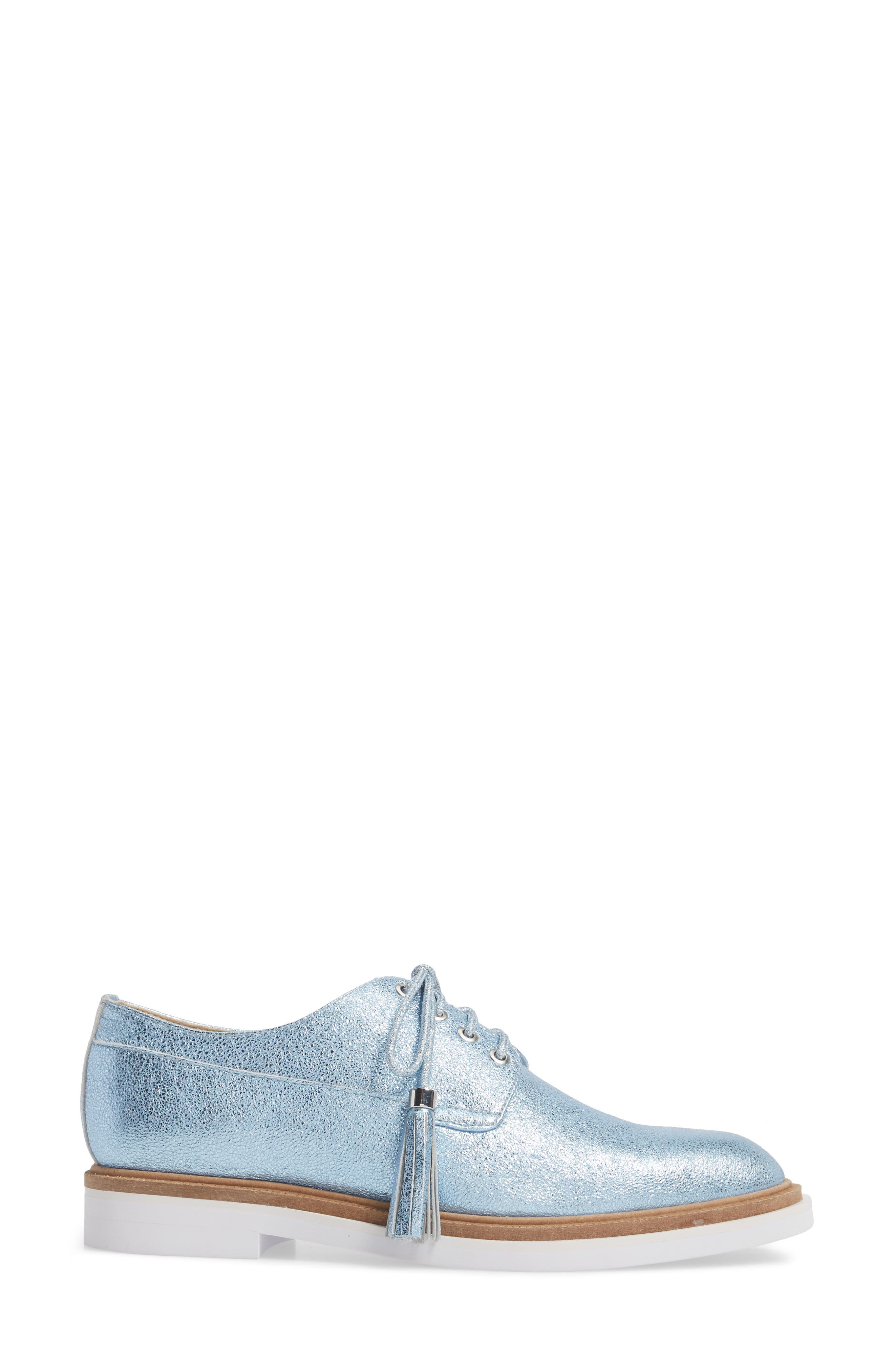 Annie Oxford,                             Alternate thumbnail 3, color,                             Blue Metallic Leather
