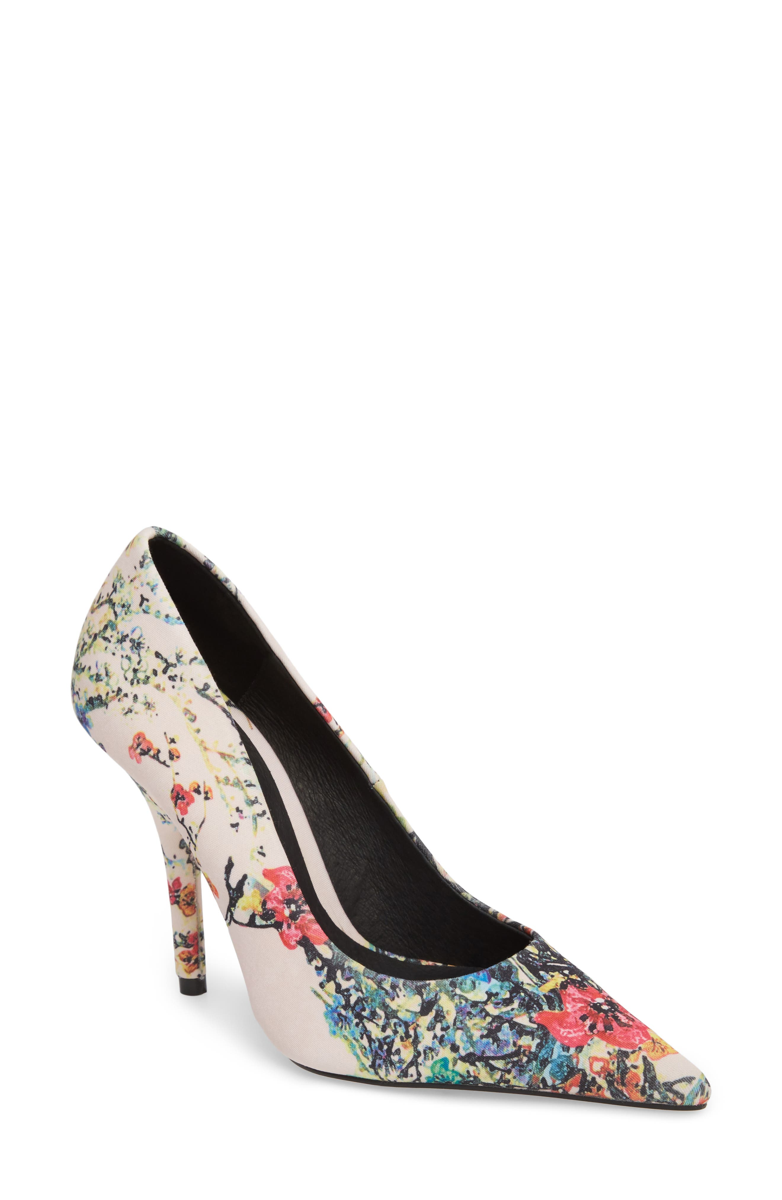 Heather Pointy Toe Pump,                             Main thumbnail 1, color,                             Pink Flower Fabric