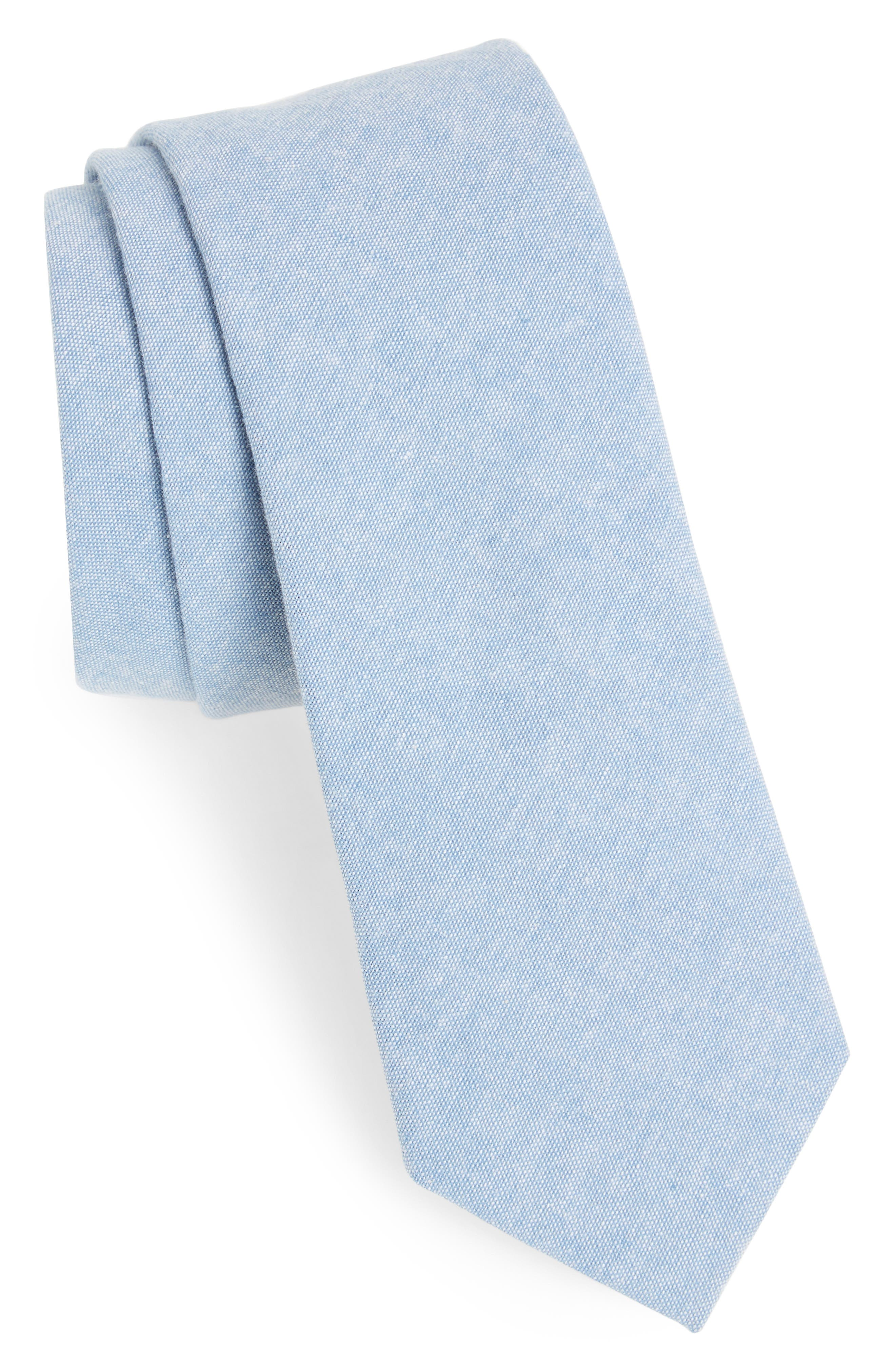 Laguna Solid Cotton Skinny Tie,                             Main thumbnail 1, color,                             Blue