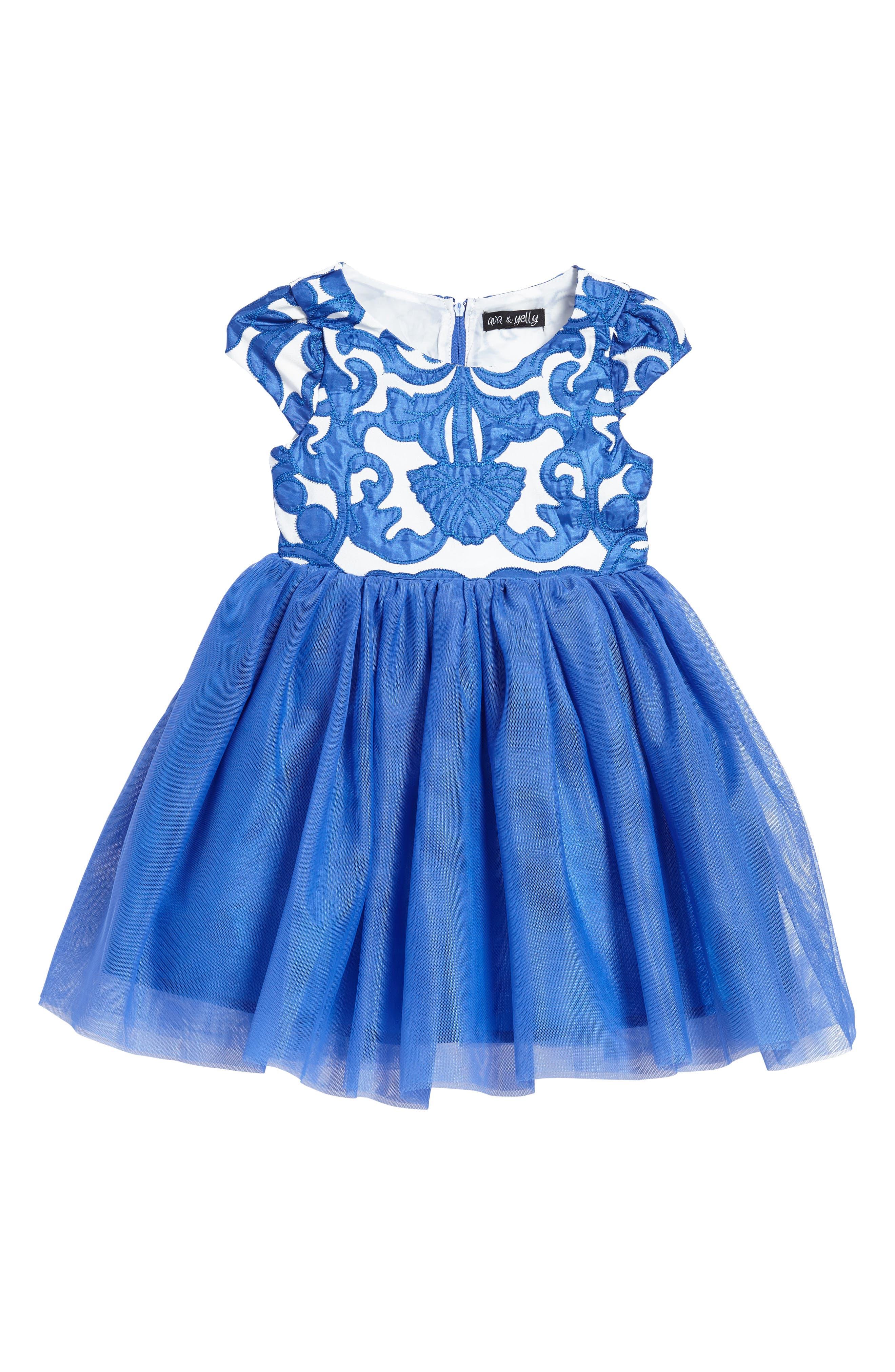 Appliqué Tulle Dress,                             Main thumbnail 1, color,                             Royal