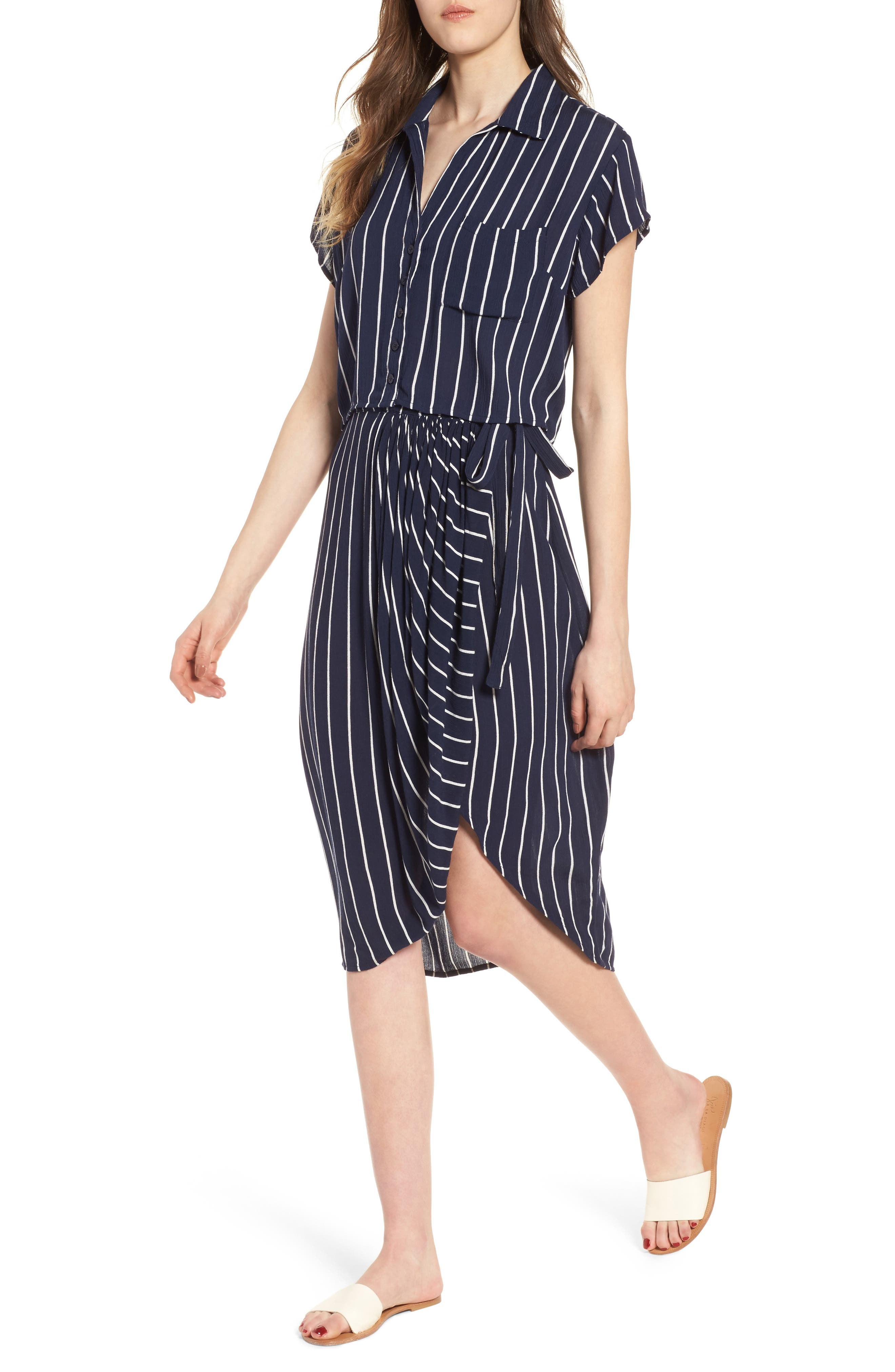 So Right Stripe Faux Wrap Skirt,                             Alternate thumbnail 2, color,                             Deep Sea