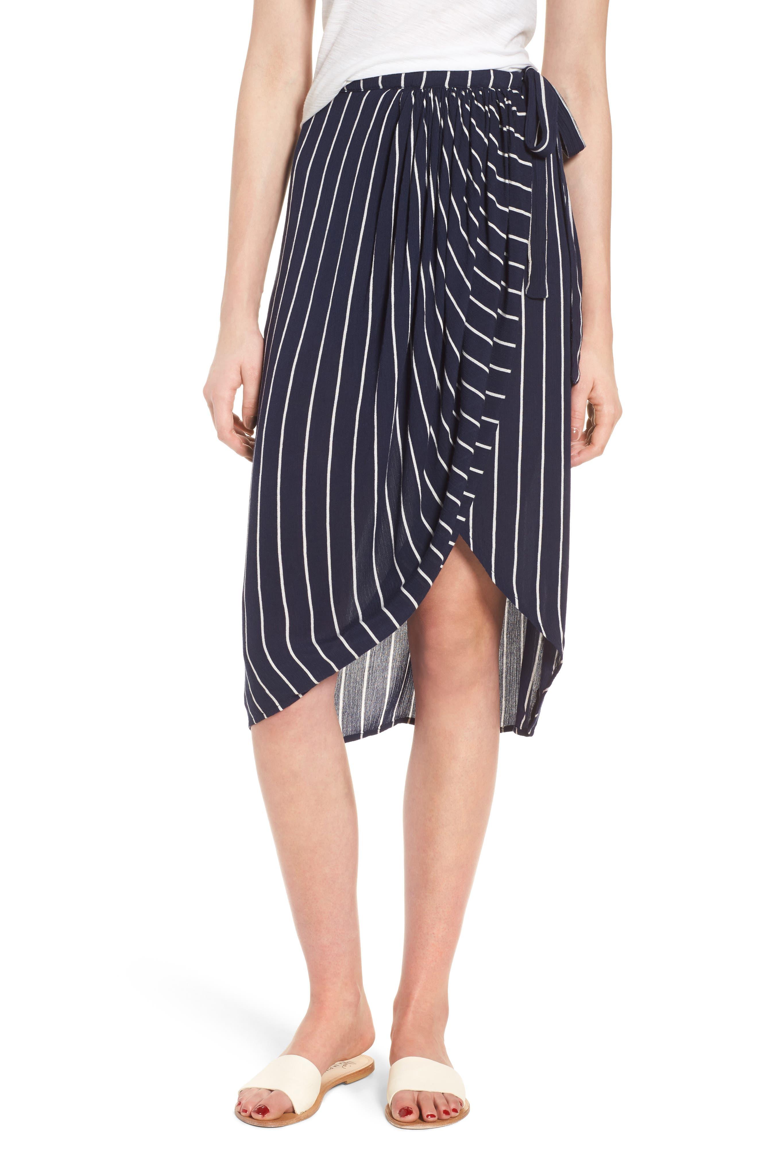 So Right Stripe Faux Wrap Skirt,                             Main thumbnail 1, color,                             Deep Sea