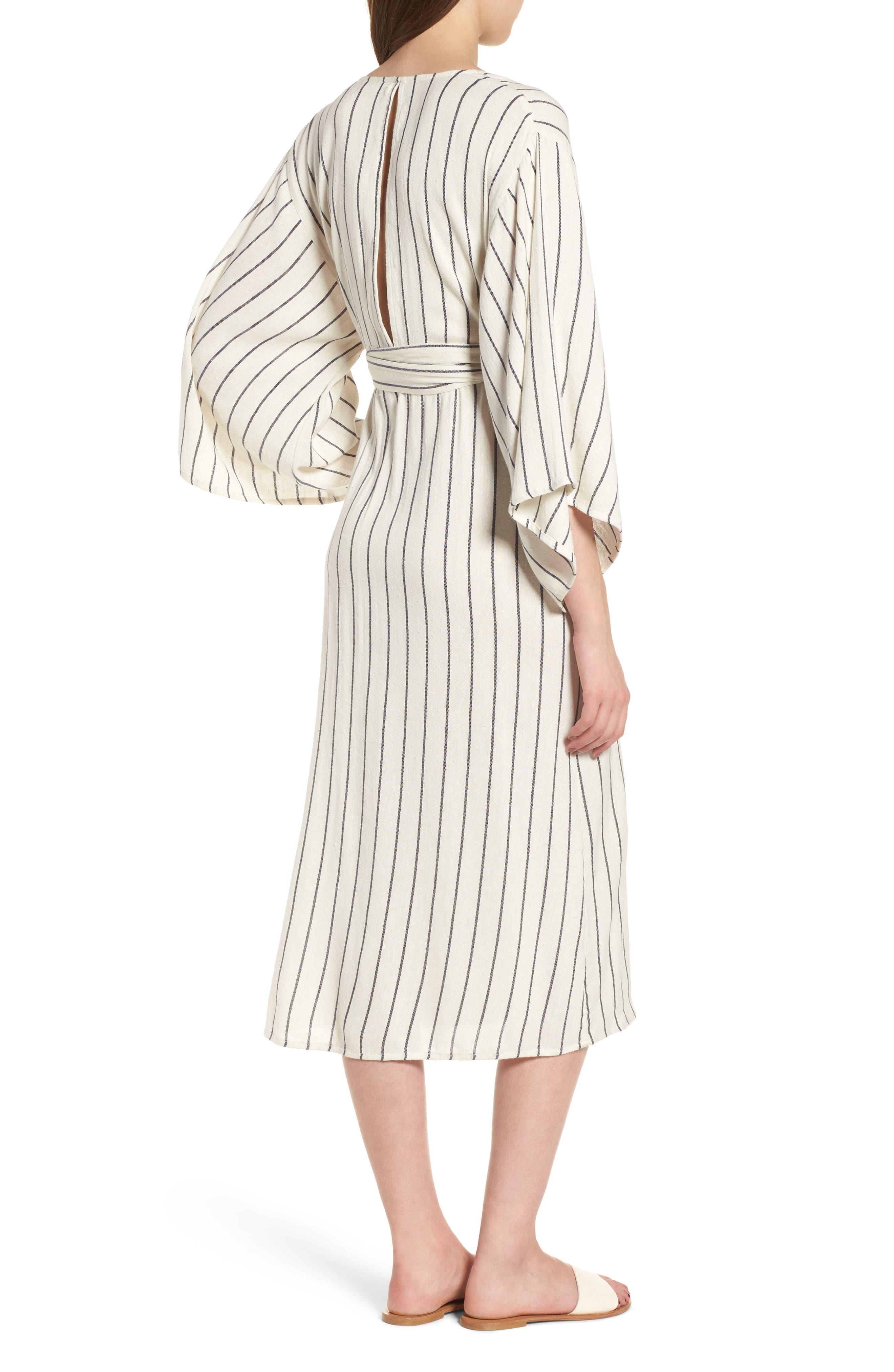 Robe Life Striped Midi Dress,                             Alternate thumbnail 2, color,                             Cool Wip