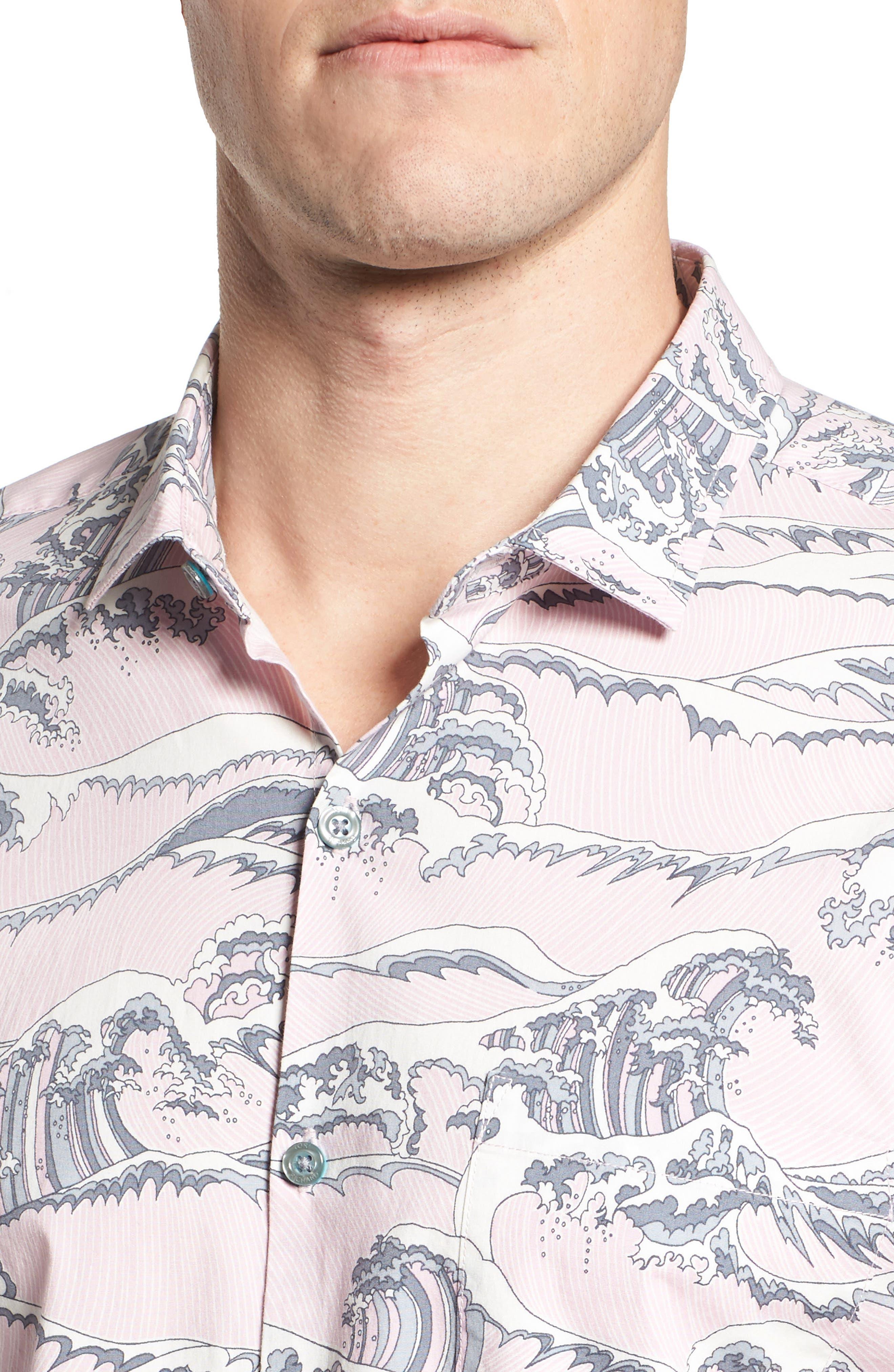 Overboard Trim Fit Print Sport Shirt,                             Alternate thumbnail 4, color,                             Pink