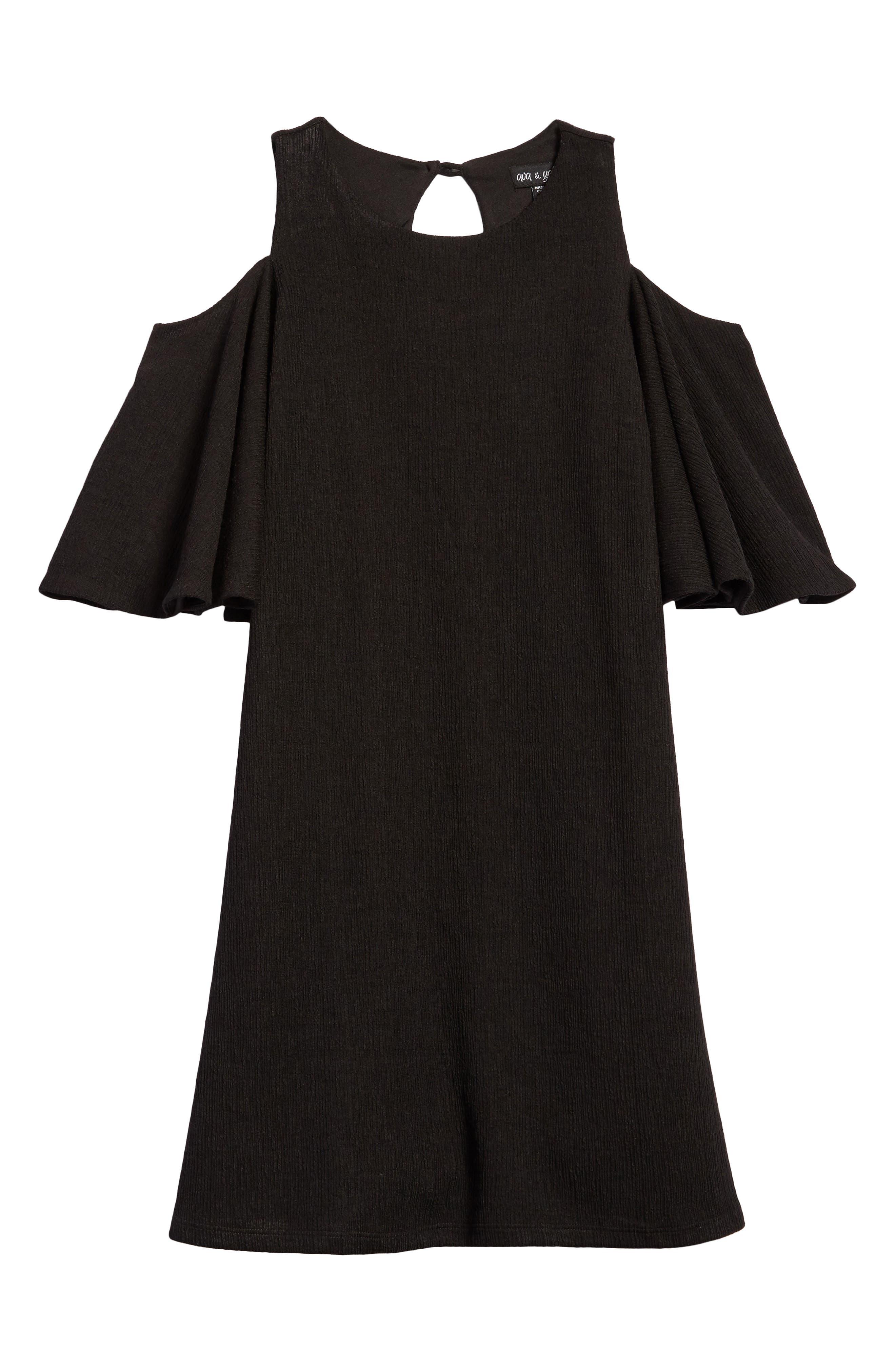Bell Sleeve A-Line Dress,                         Main,                         color, Black