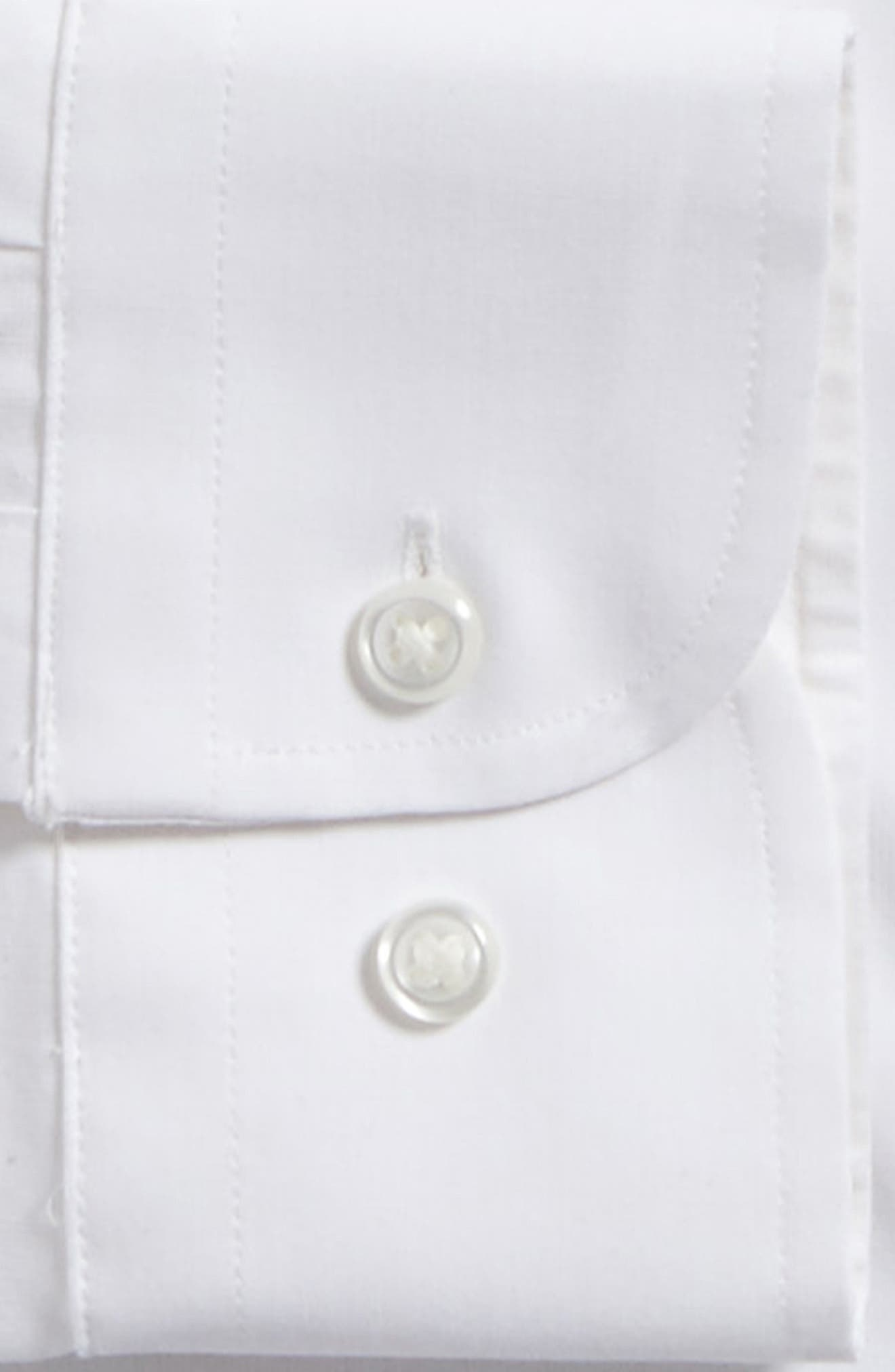 Tech-Smart Trim Fit Stretch Solid Dress Shirt,                             Alternate thumbnail 3, color,                             White