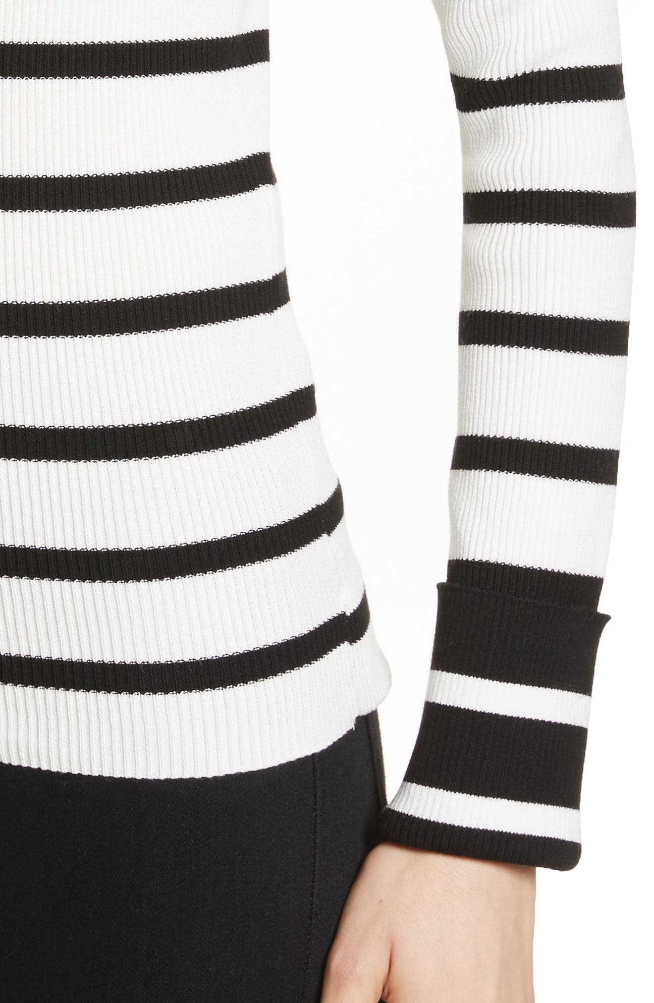 Alternate Image 4  - Theory Stripe Rib Crewneck Pullover