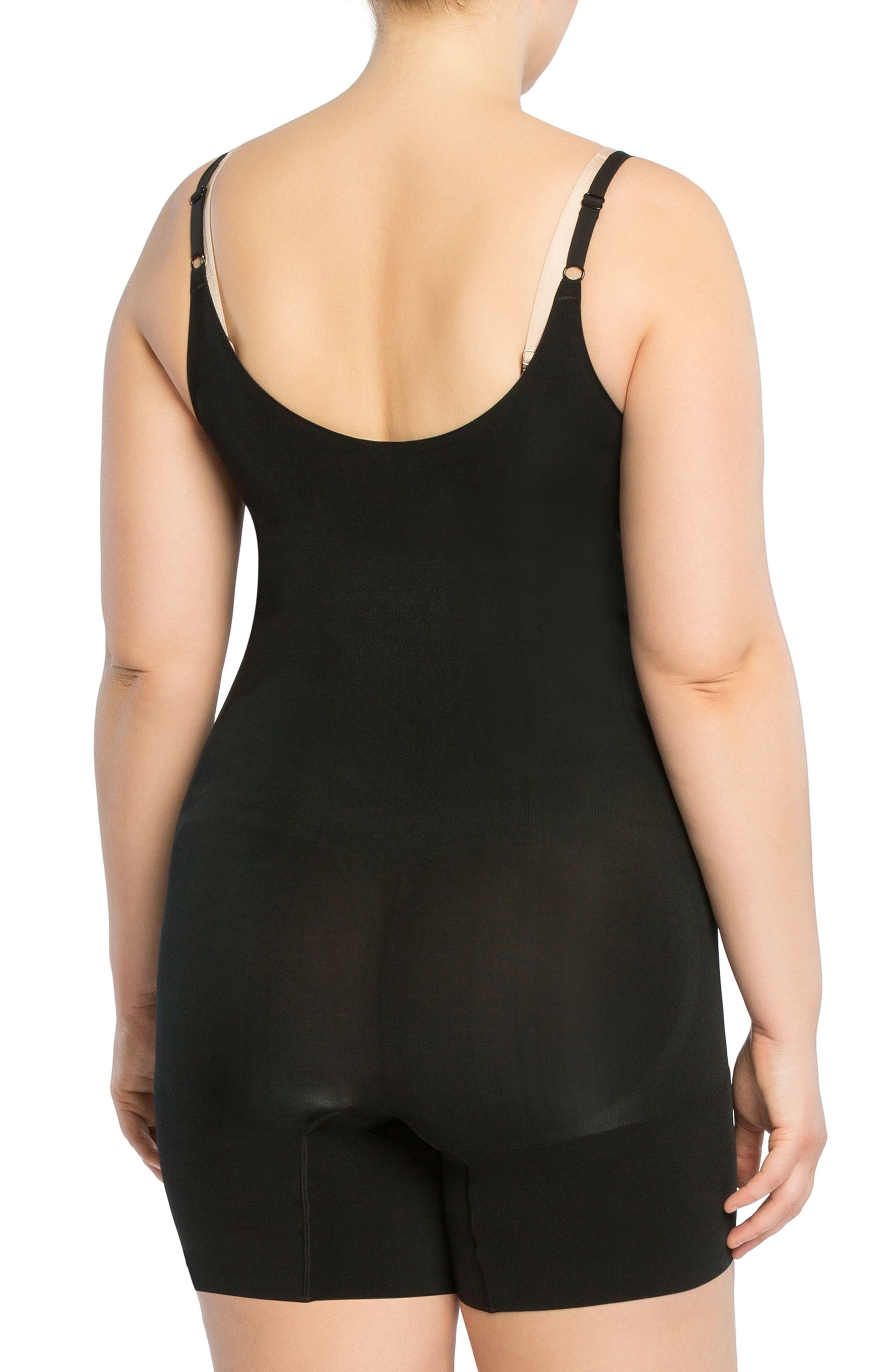 OnCore Open-Bust Mid-Thigh Shaper Bodysuit,                             Alternate thumbnail 2, color,                             Very Black