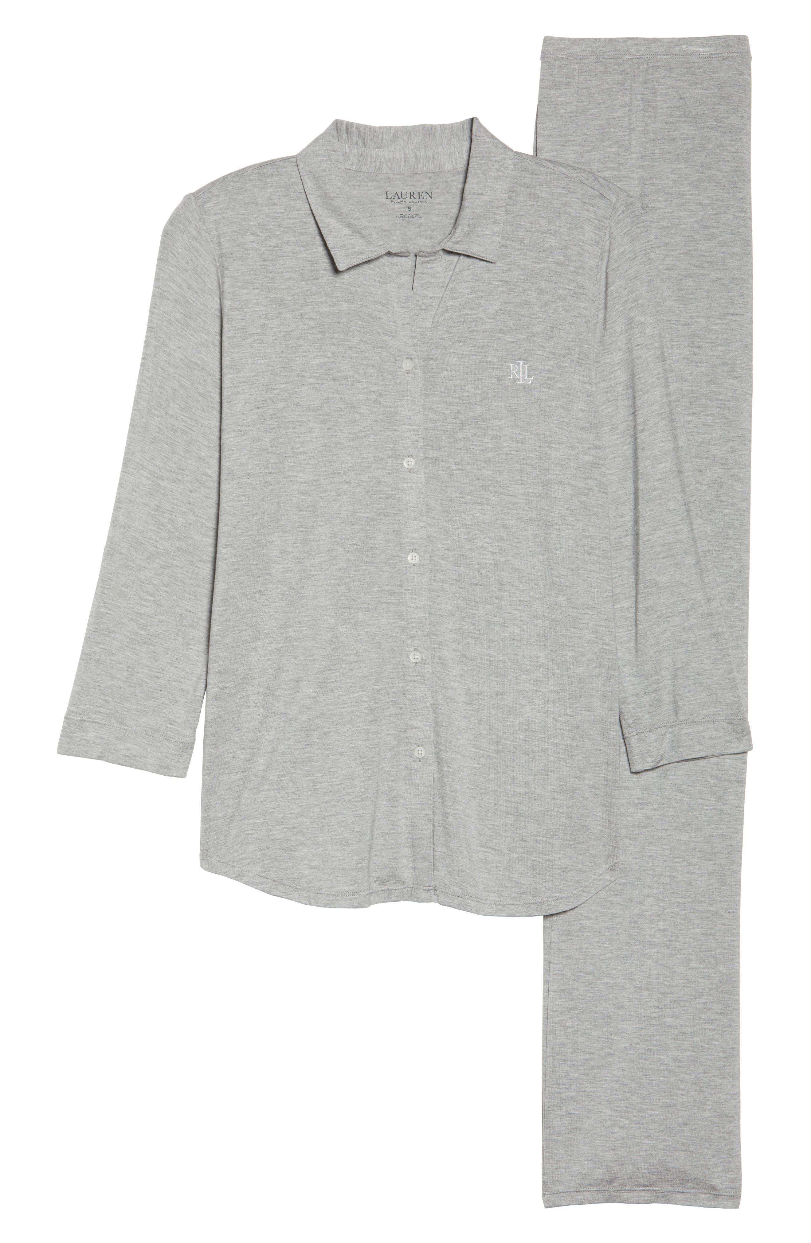 Jersey Pajamas,                             Alternate thumbnail 6, color,                             Heather Grey Feeder Stripe