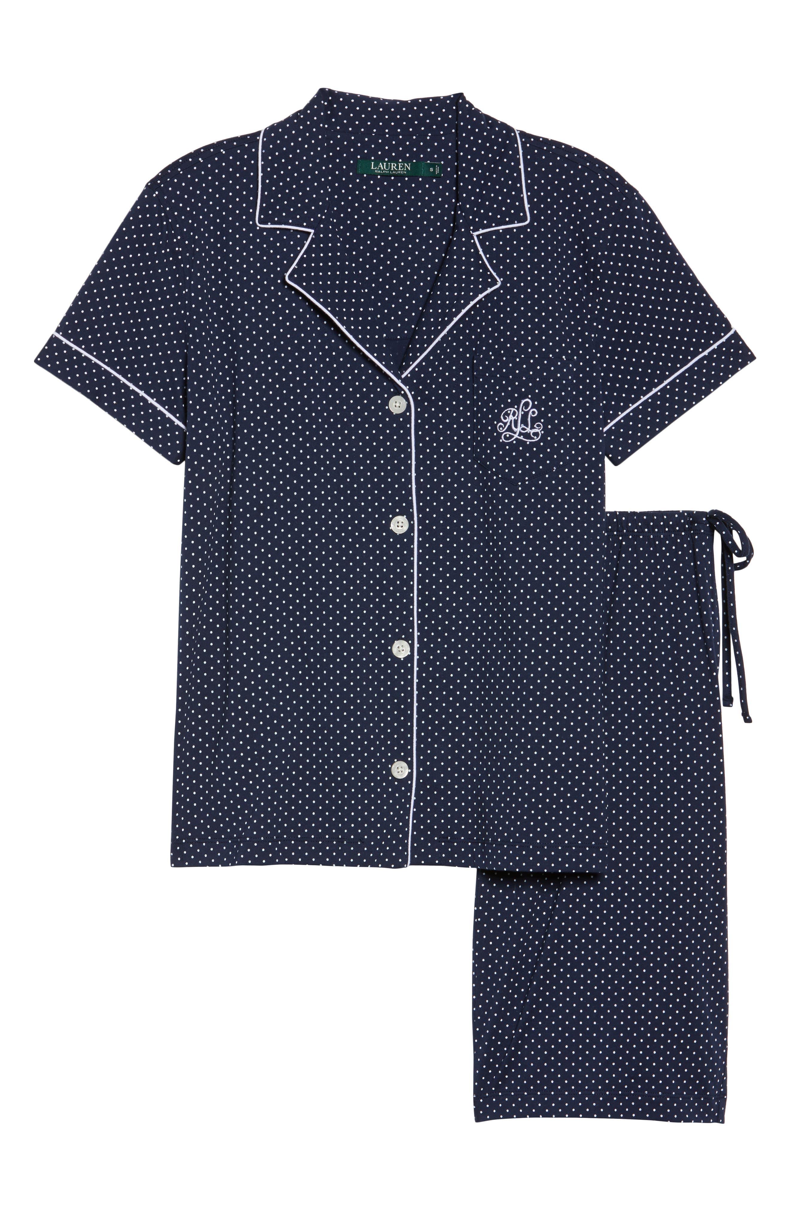 Bermuda Pajamas,                             Alternate thumbnail 6, color,                             Navy Dot