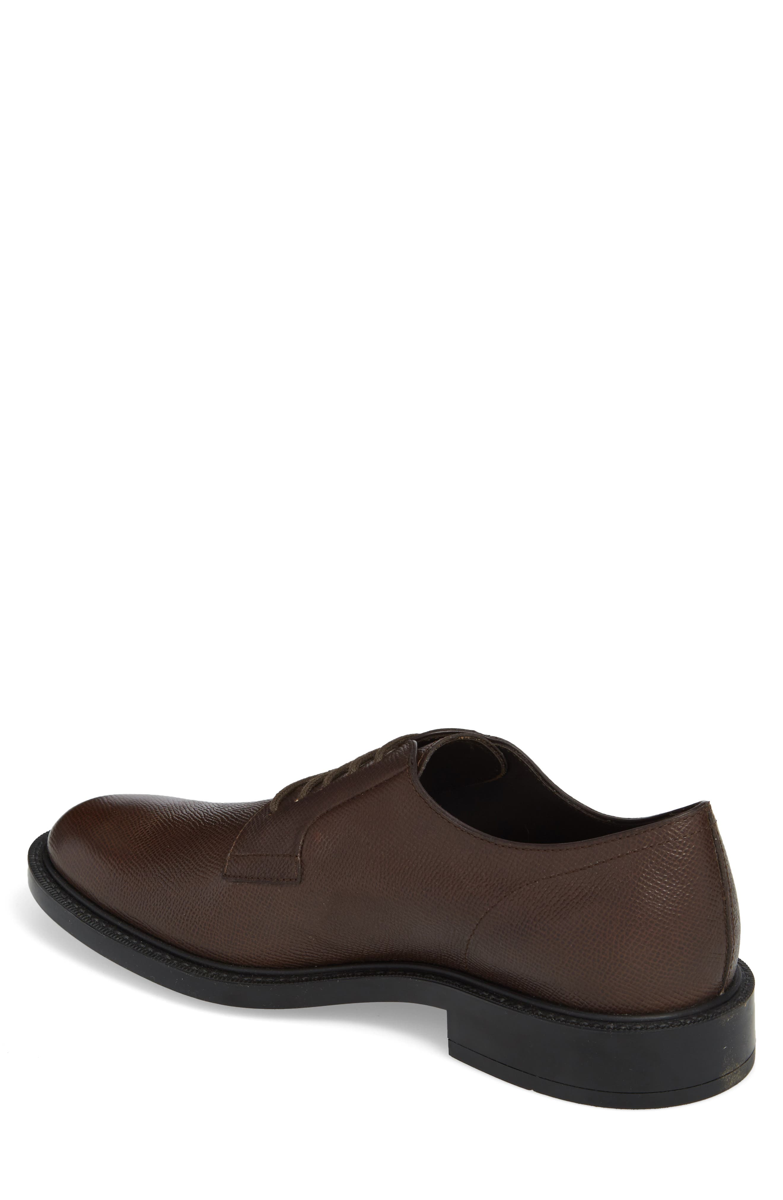Clean Plain Toe Derby,                             Alternate thumbnail 2, color,                             Brown Textured Leather