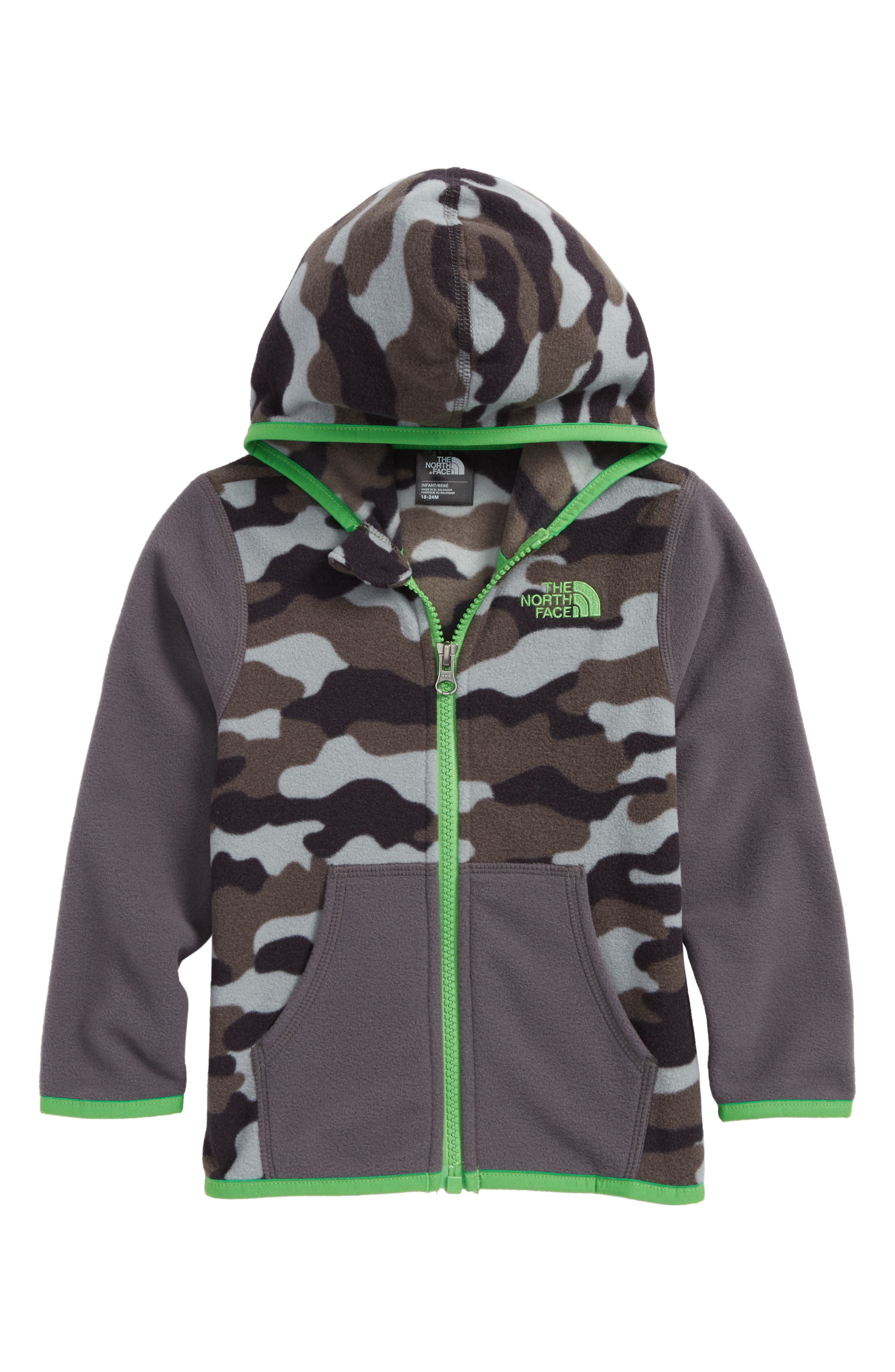 Glacier Full Zip Hoodie,                             Main thumbnail 1, color,                             Graphite Grey/ Classic Green