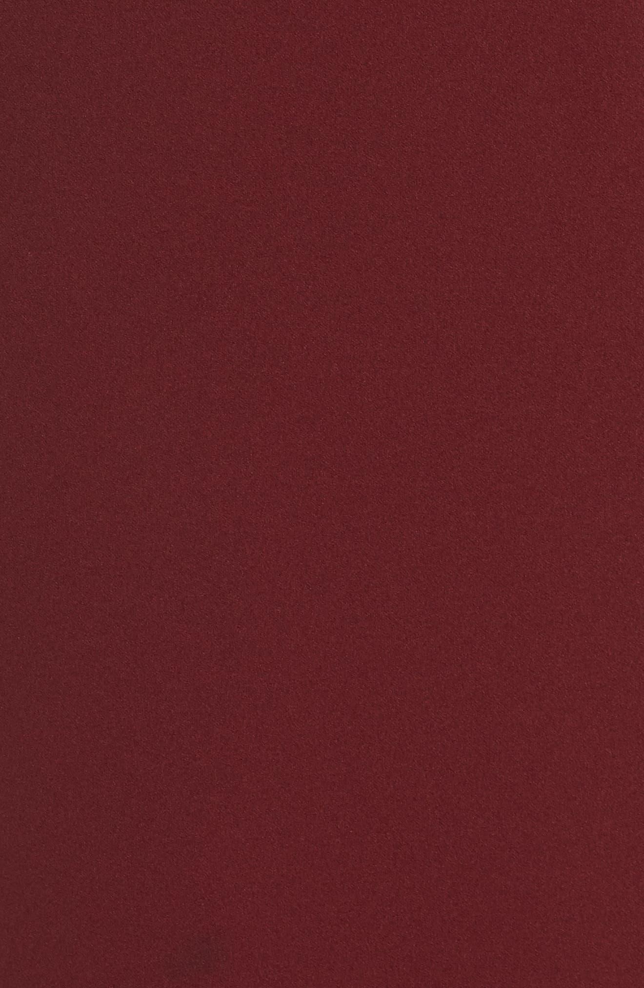 Angelina One-Shoulder Crepe Column Gown,                             Alternate thumbnail 5, color,                             Bordeaux