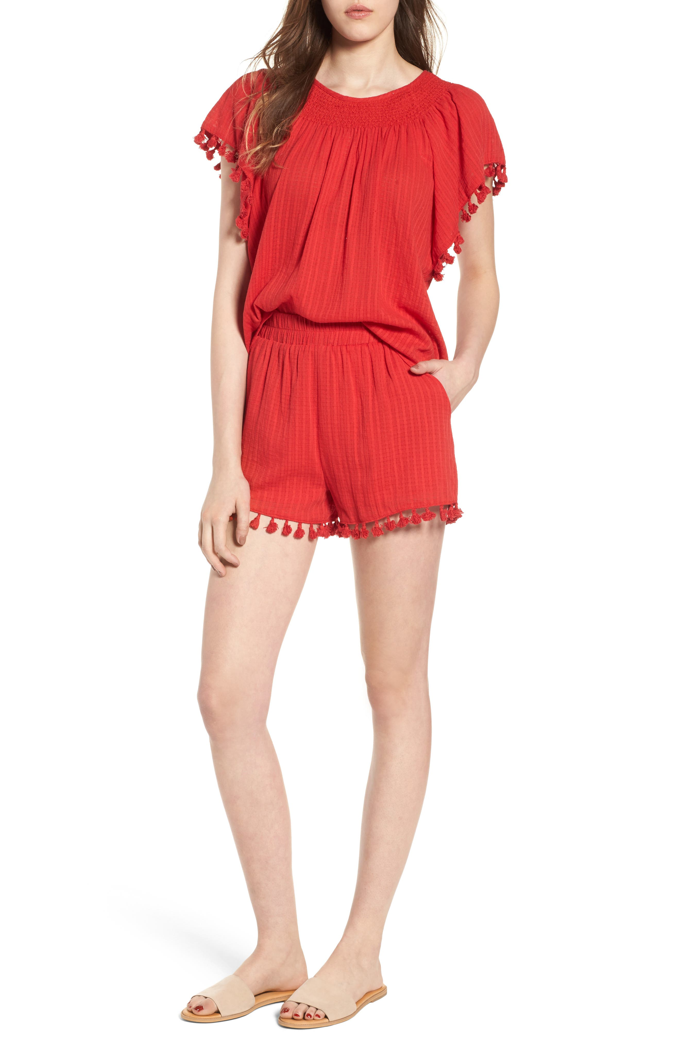 Pompom Trim Shorts,                             Alternate thumbnail 8, color,                             Red