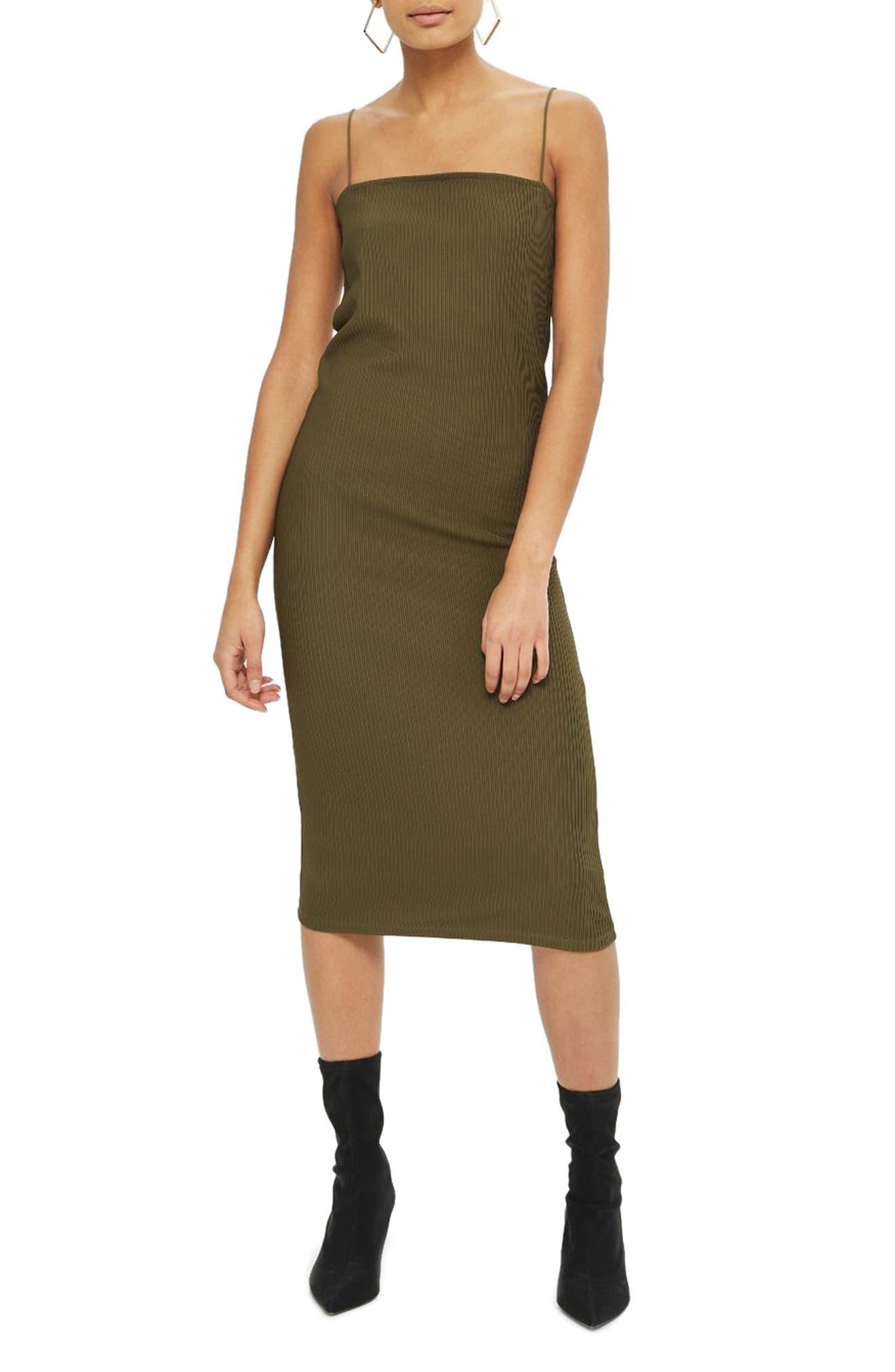 Square Neck Body-Con Midi Dress,                         Main,                         color, Olive