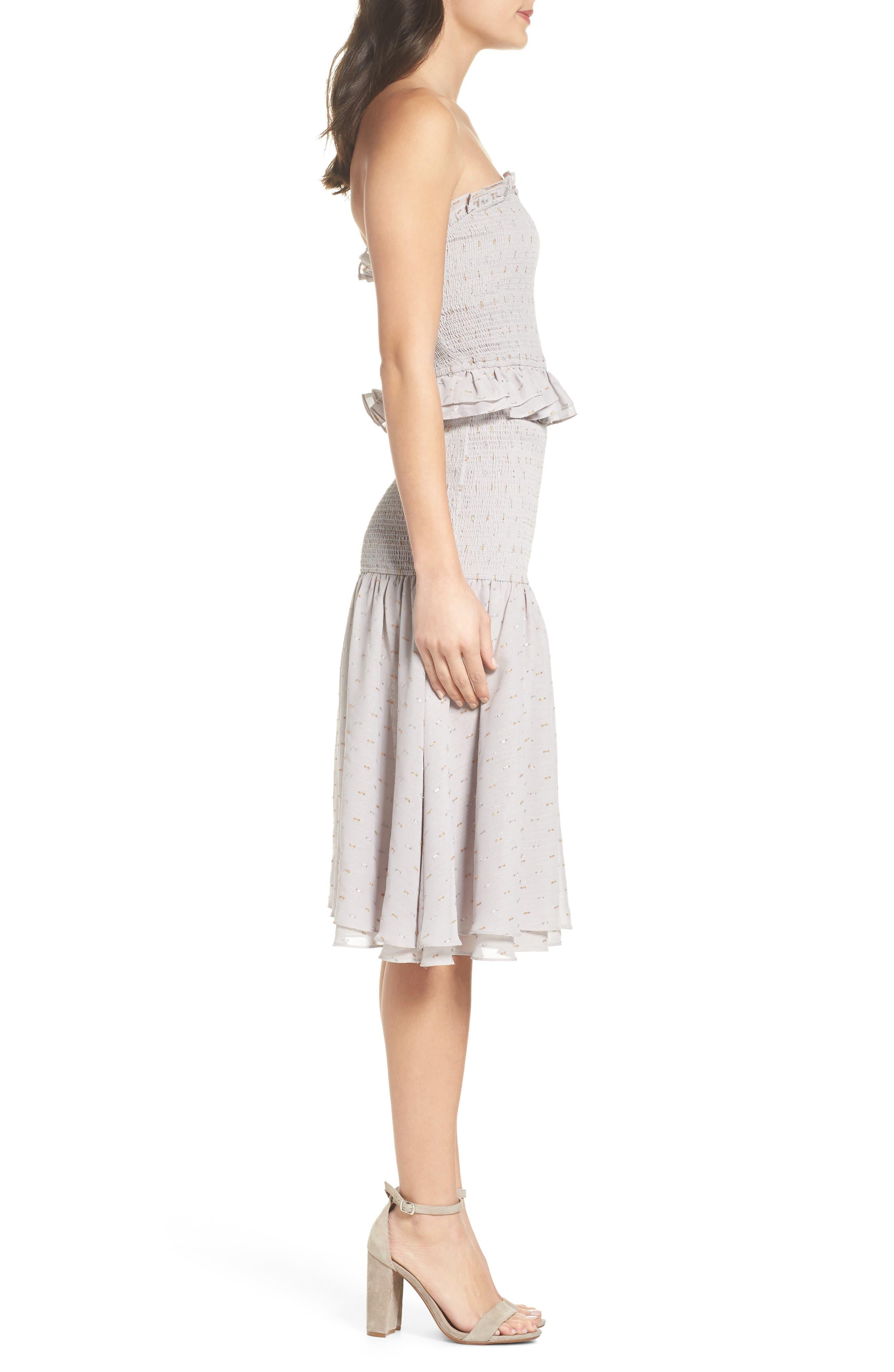 Grey Violet Smocked Midi Dress,                             Alternate thumbnail 3, color,                             Grey