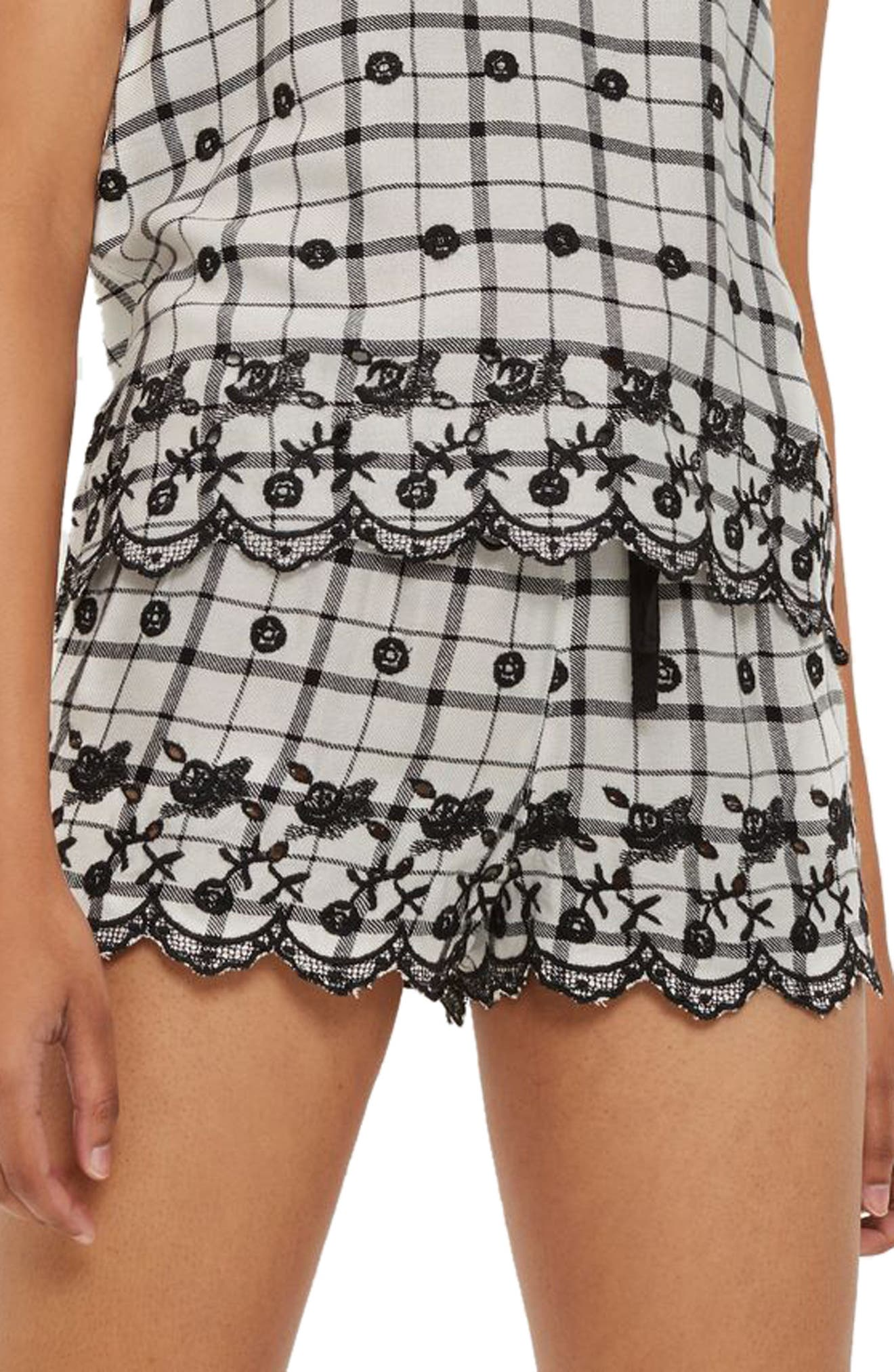 Alternate Image 1 Selected - Topshop Embroidered Pajama Shorts