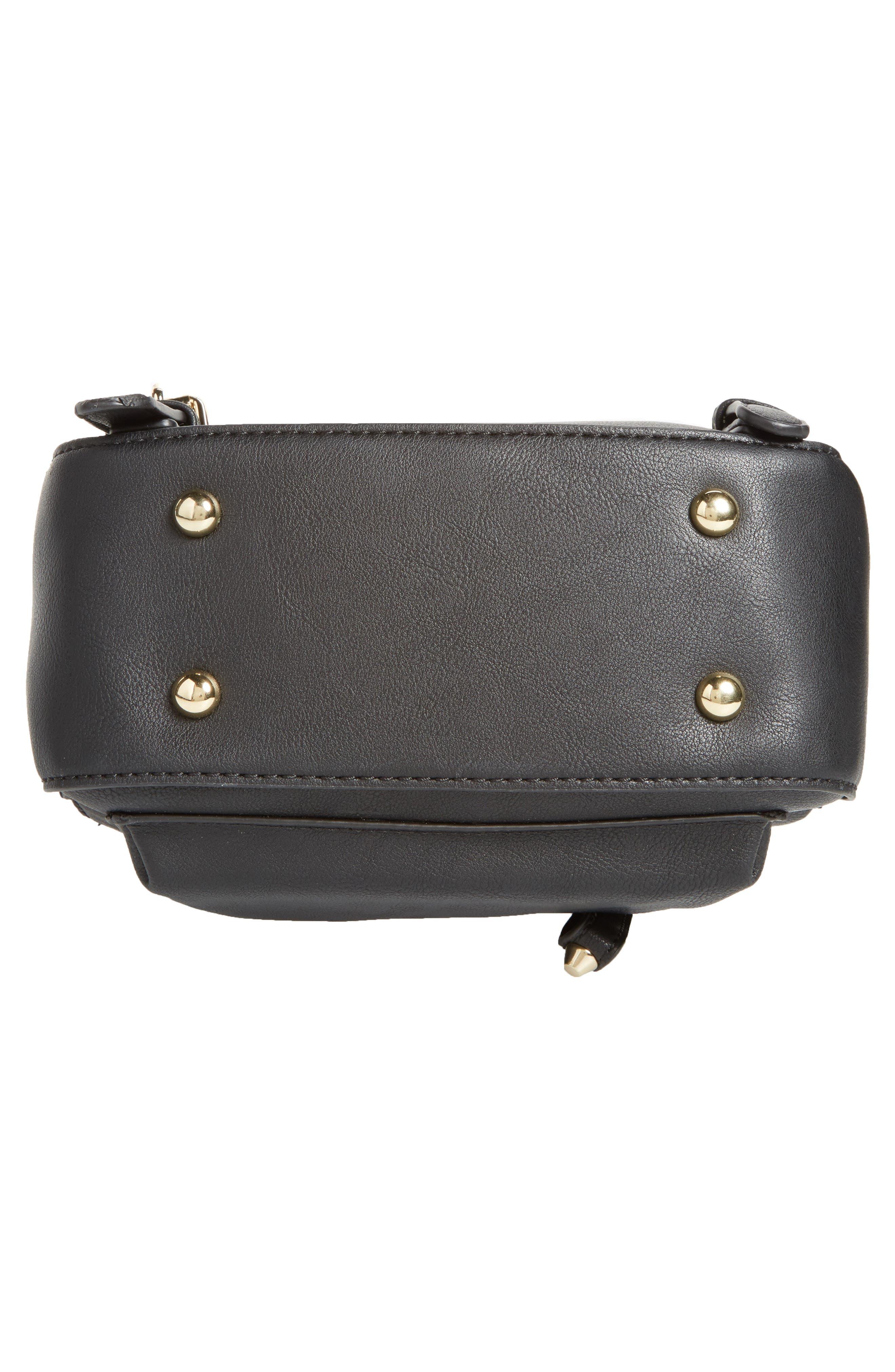 Embellished Faux Leather Backpack,                             Alternate thumbnail 5, color,                             Black